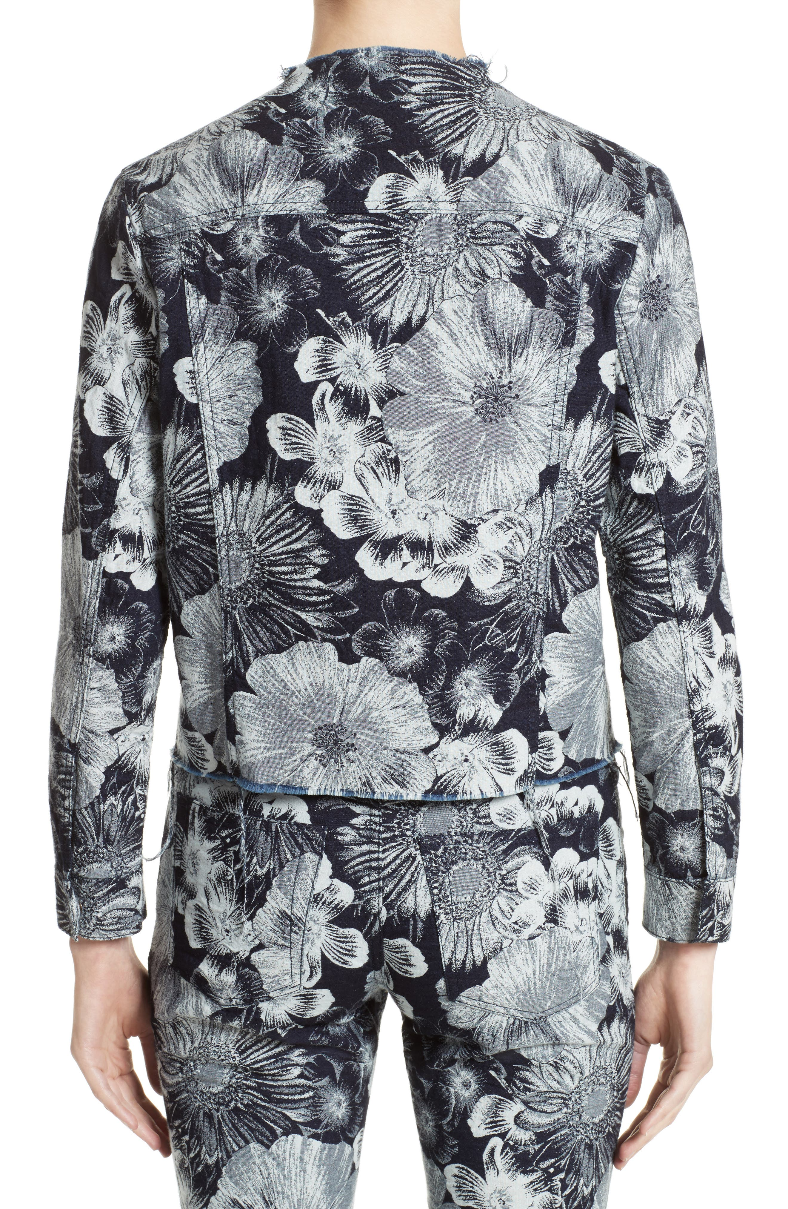 Marques'Almeida Floral Print Classic Fitted Denim Jacket,                             Alternate thumbnail 3, color,