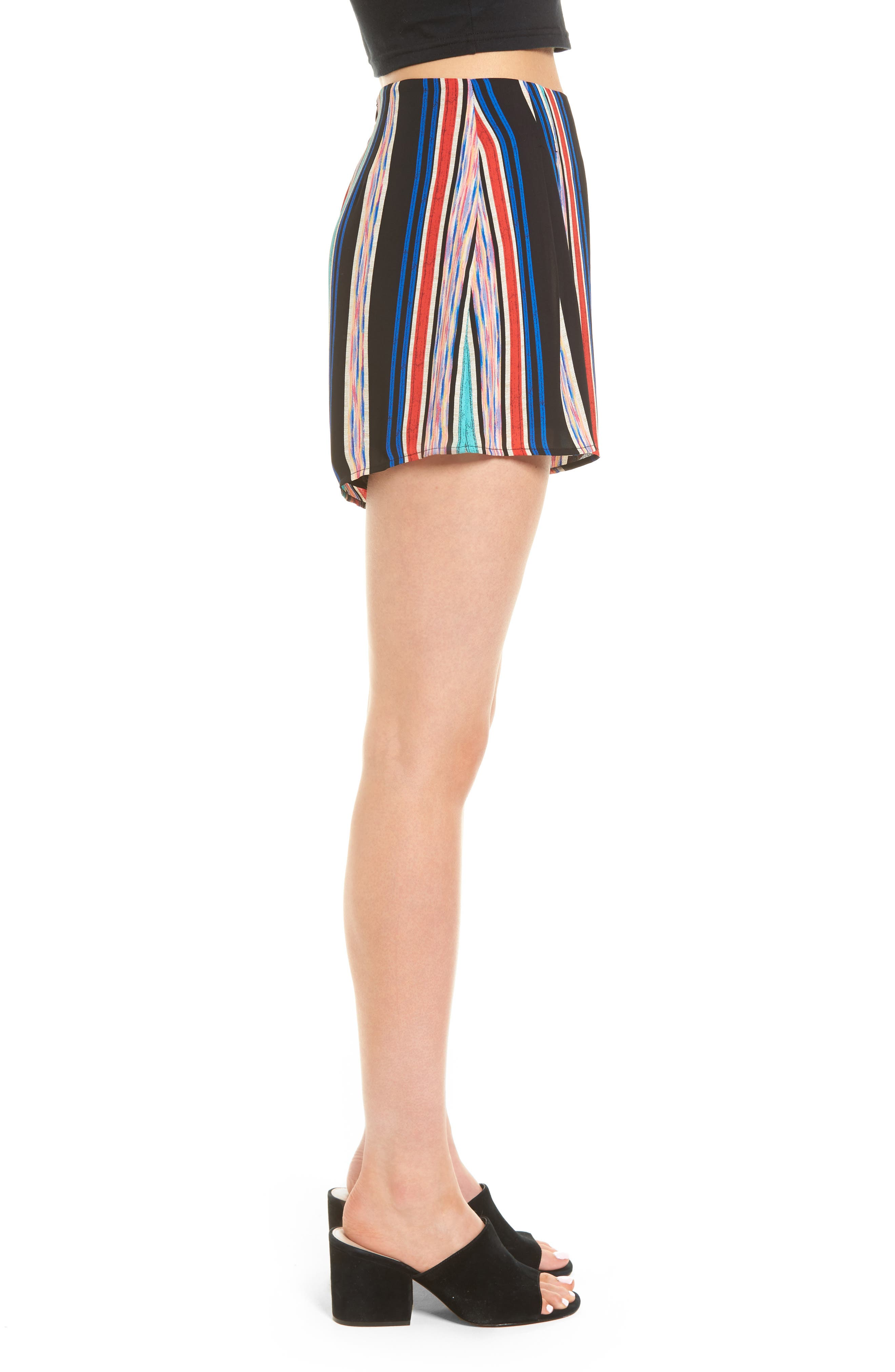 Pleat Front High Waist Shorts,                             Alternate thumbnail 3, color,                             001