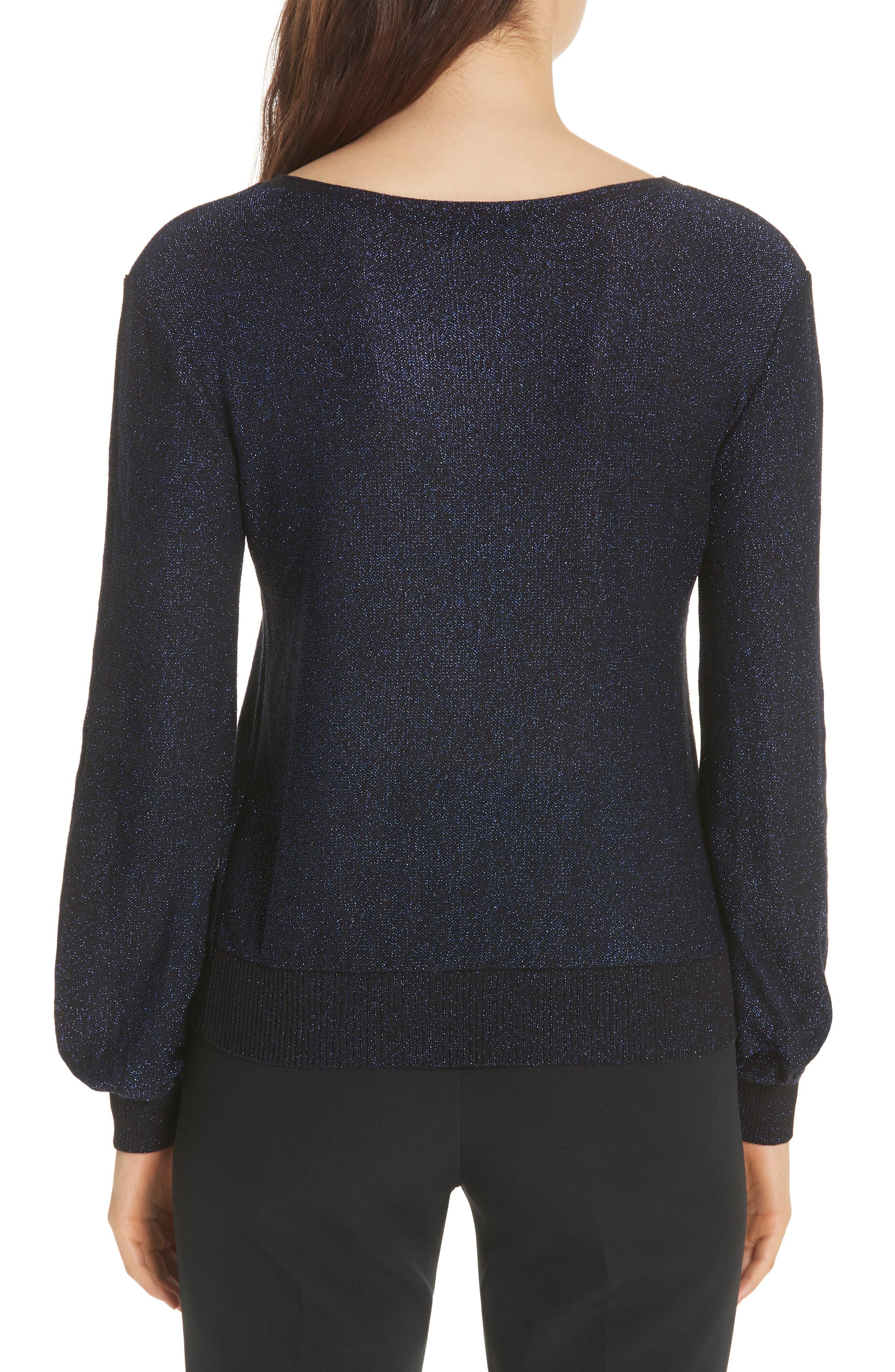 Metallic Shimmer Cotton Blend Sweater,                             Alternate thumbnail 2, color,                             COBALT