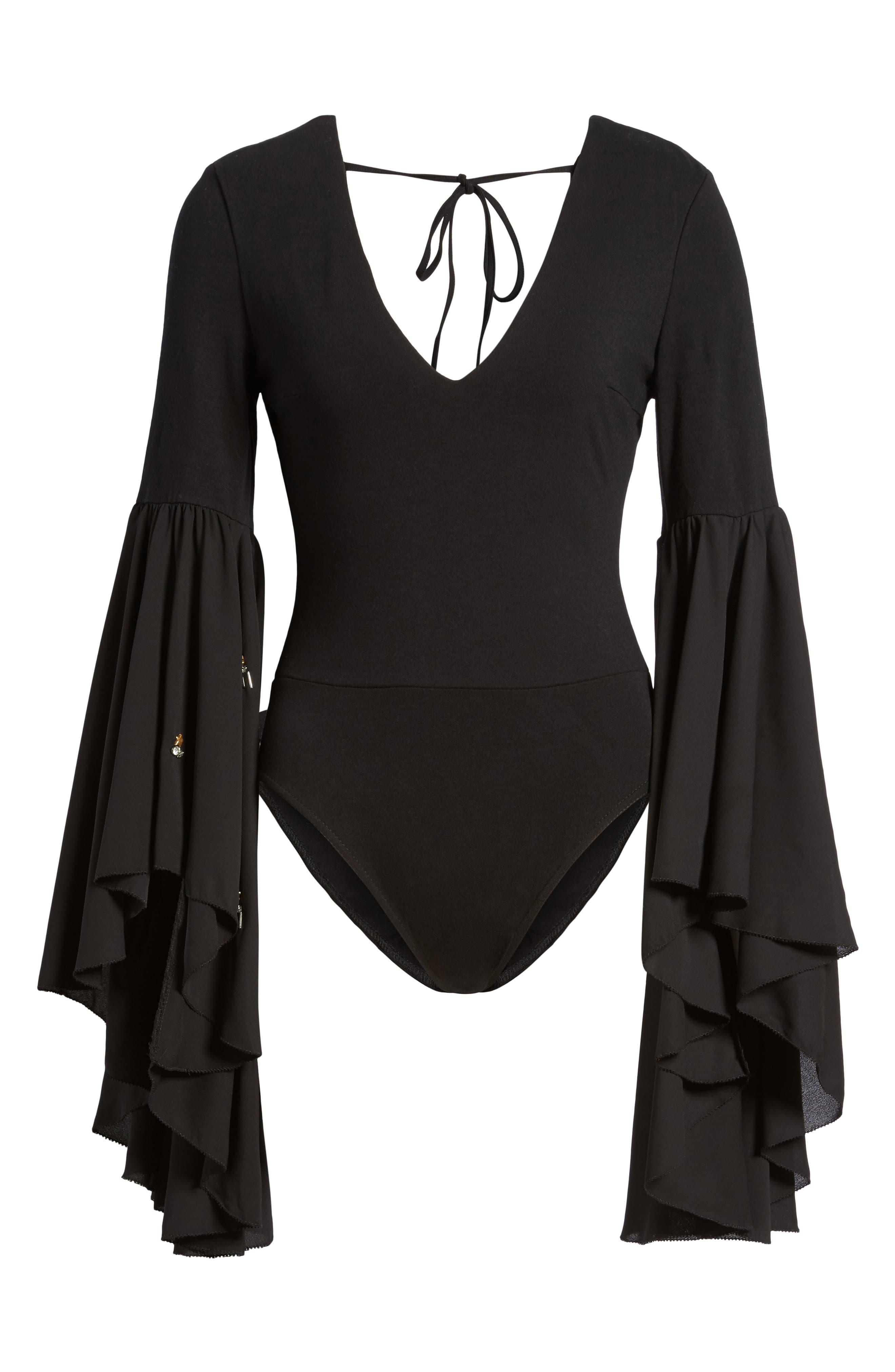 Embellished Flare Sleeve Bodysuit,                             Alternate thumbnail 6, color,