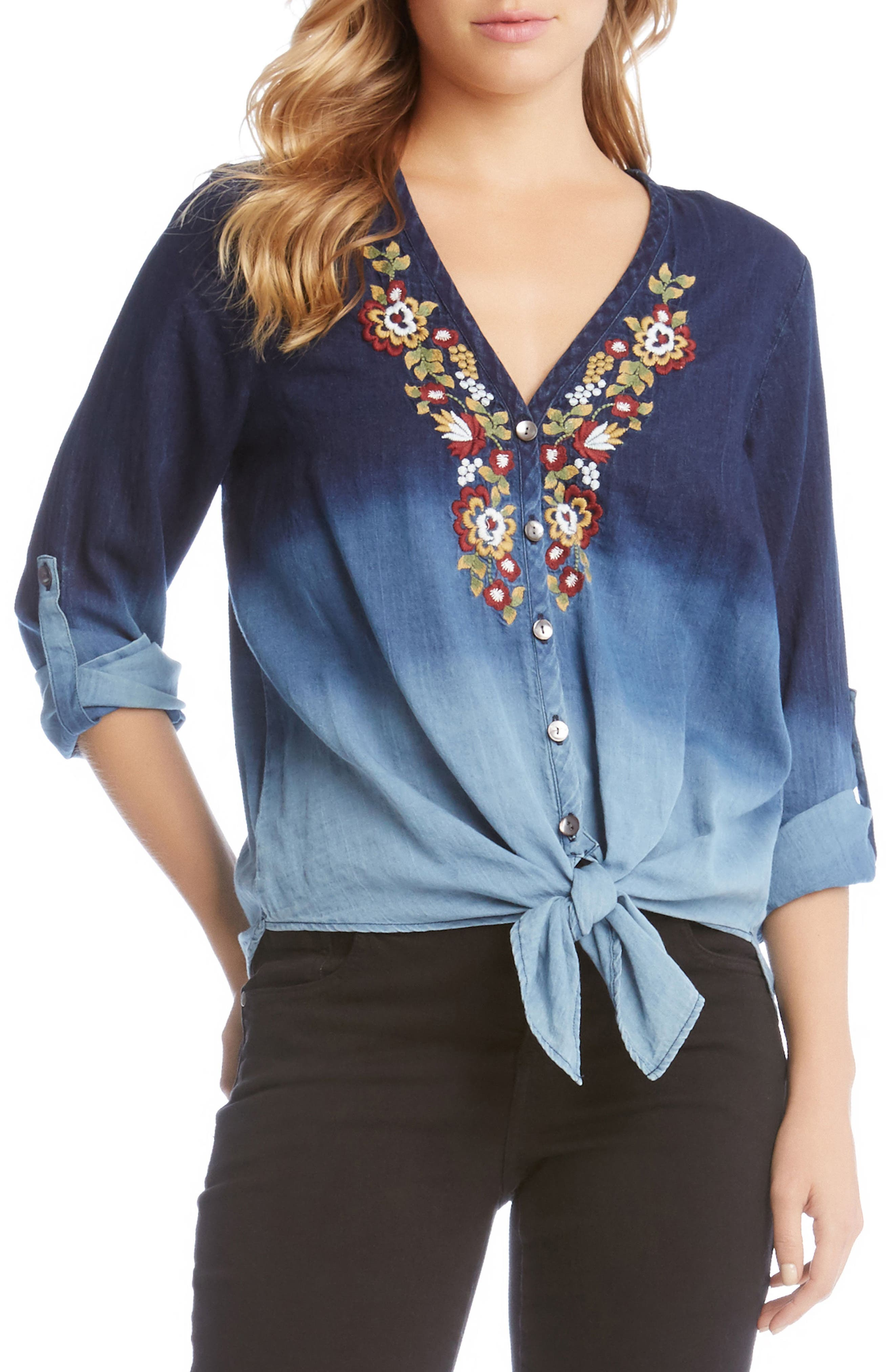Kane Kane Embroidered Ombré Top,                         Main,                         color,