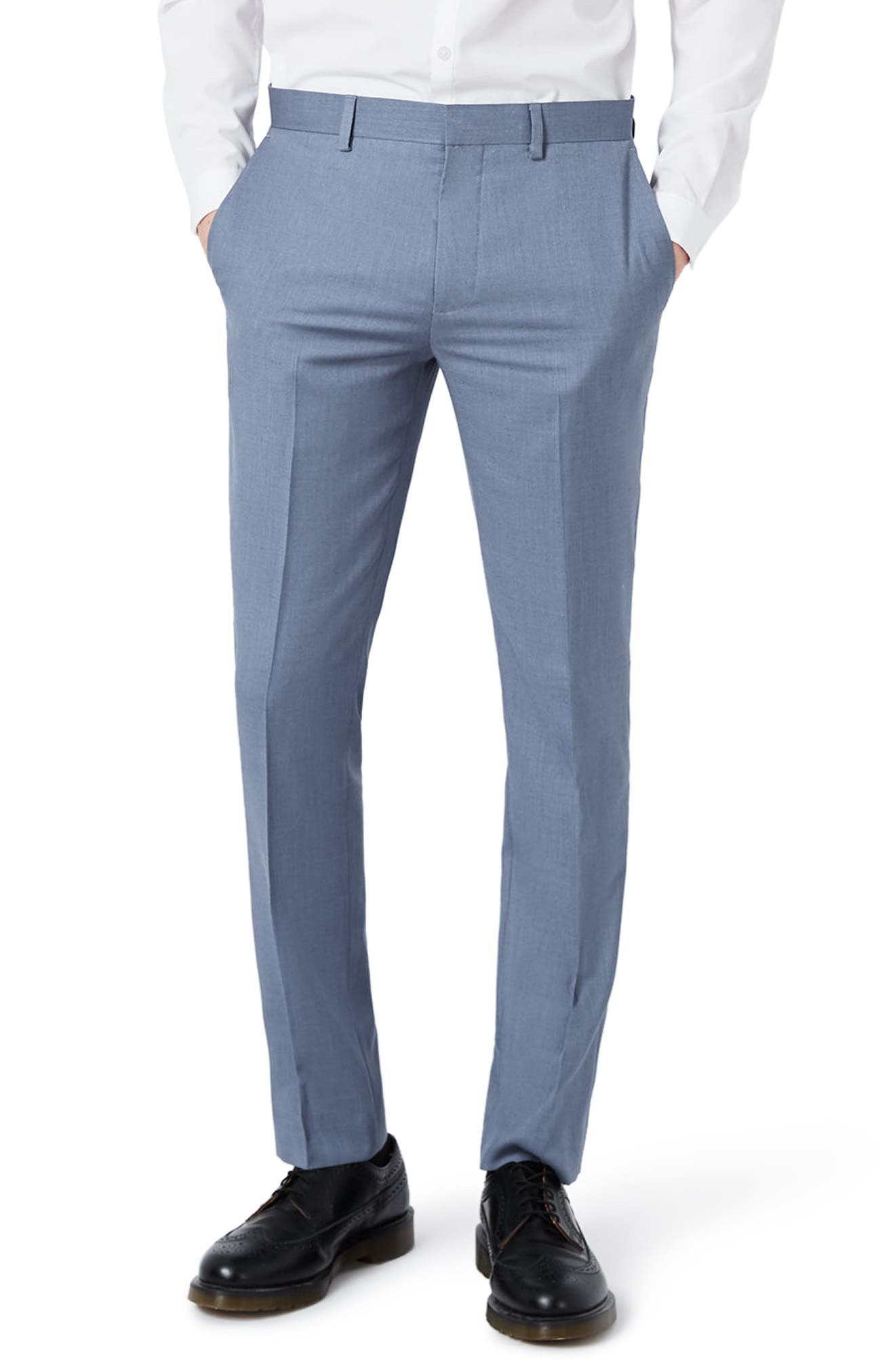 Skinny Fit Crosshatch Trousers,                             Main thumbnail 2, color,