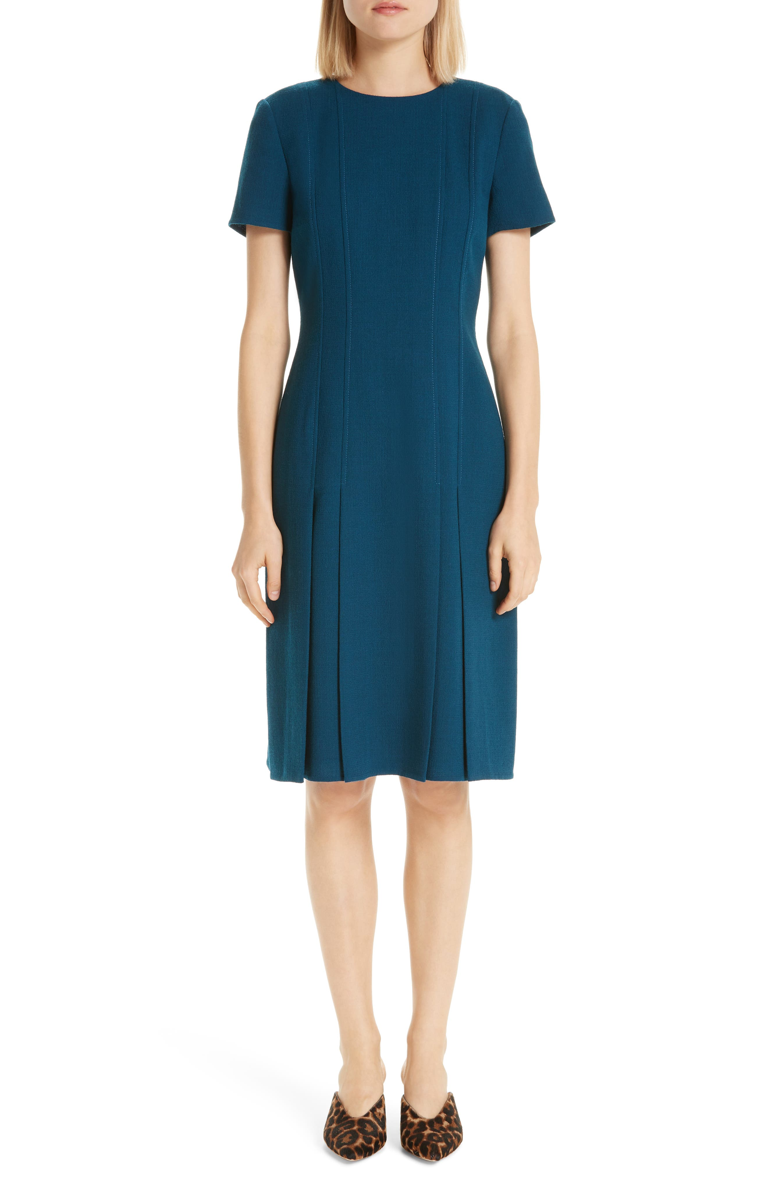 Jannie Pleated Hem Dress, Main, color, EMPRESS TEAL