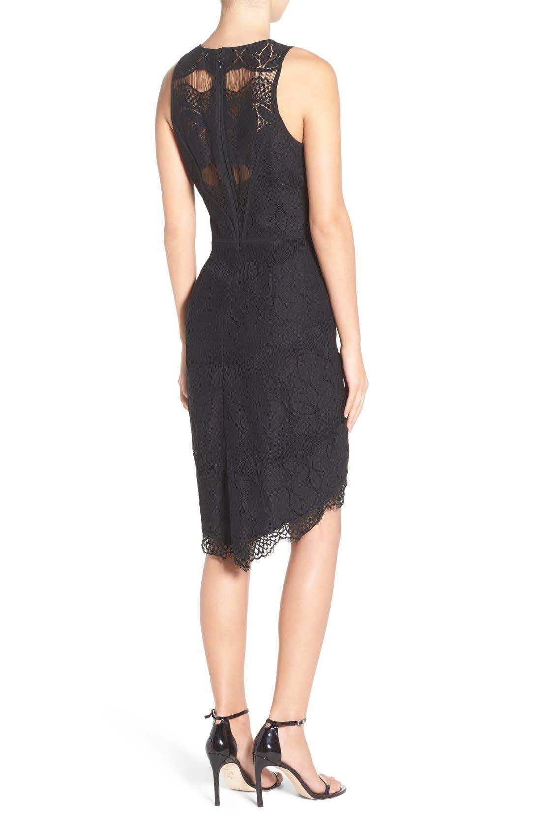 Lace High/Low Sheath Dress,                             Alternate thumbnail 12, color,
