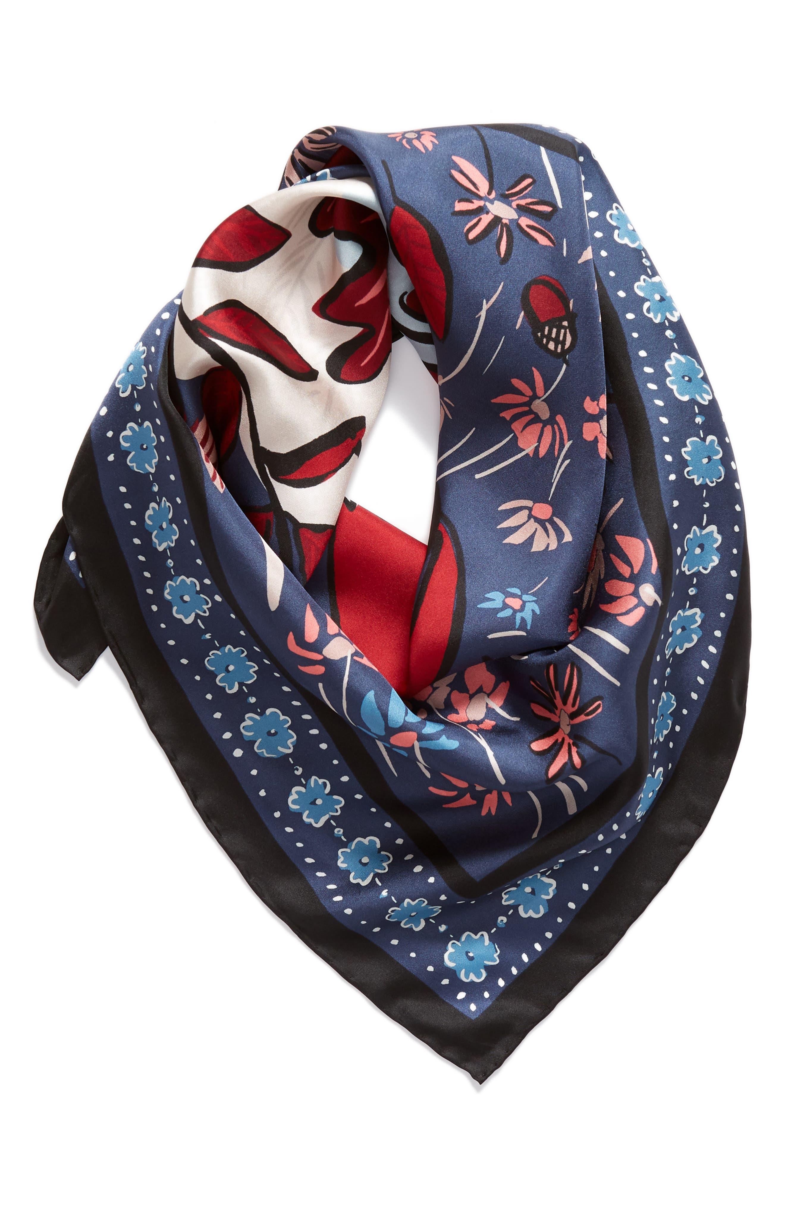 fox scene square silk scarf,                             Alternate thumbnail 2, color,                             001