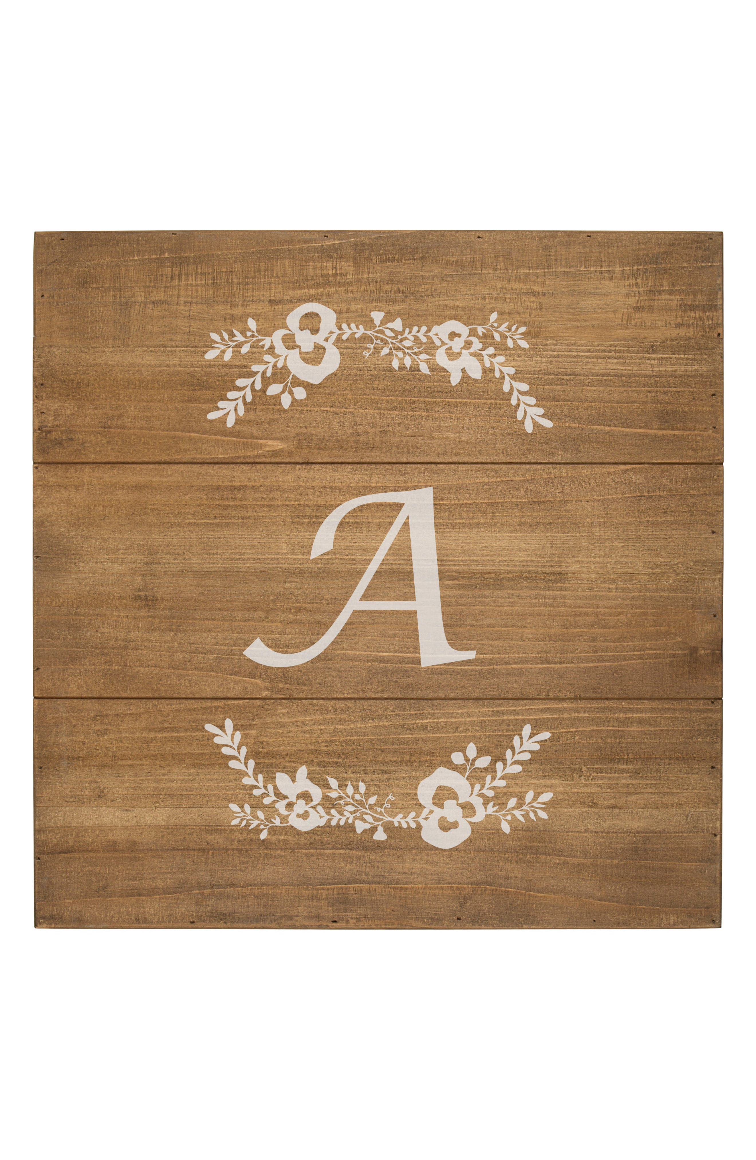 Monogram Rustic Wood Sign,                             Alternate thumbnail 2, color,                             A