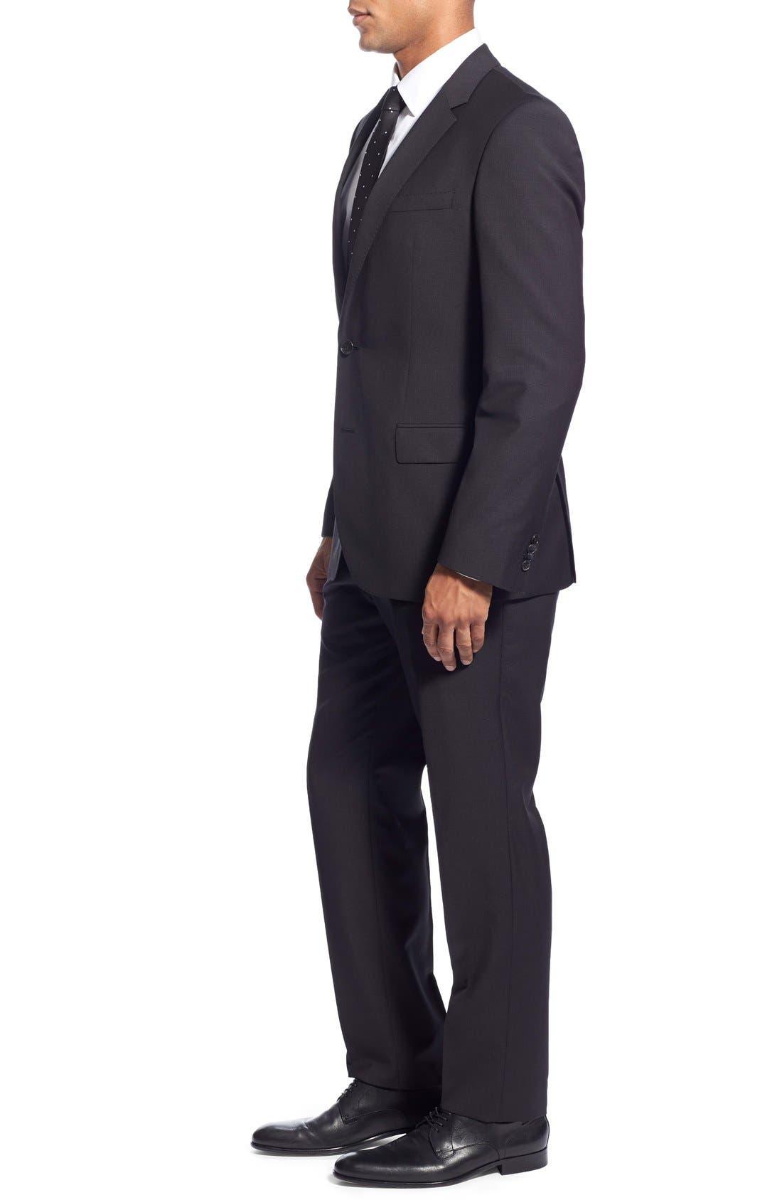 'Huge/Genius' Trim Fit Solid Wool Suit,                             Alternate thumbnail 13, color,                             BLACK