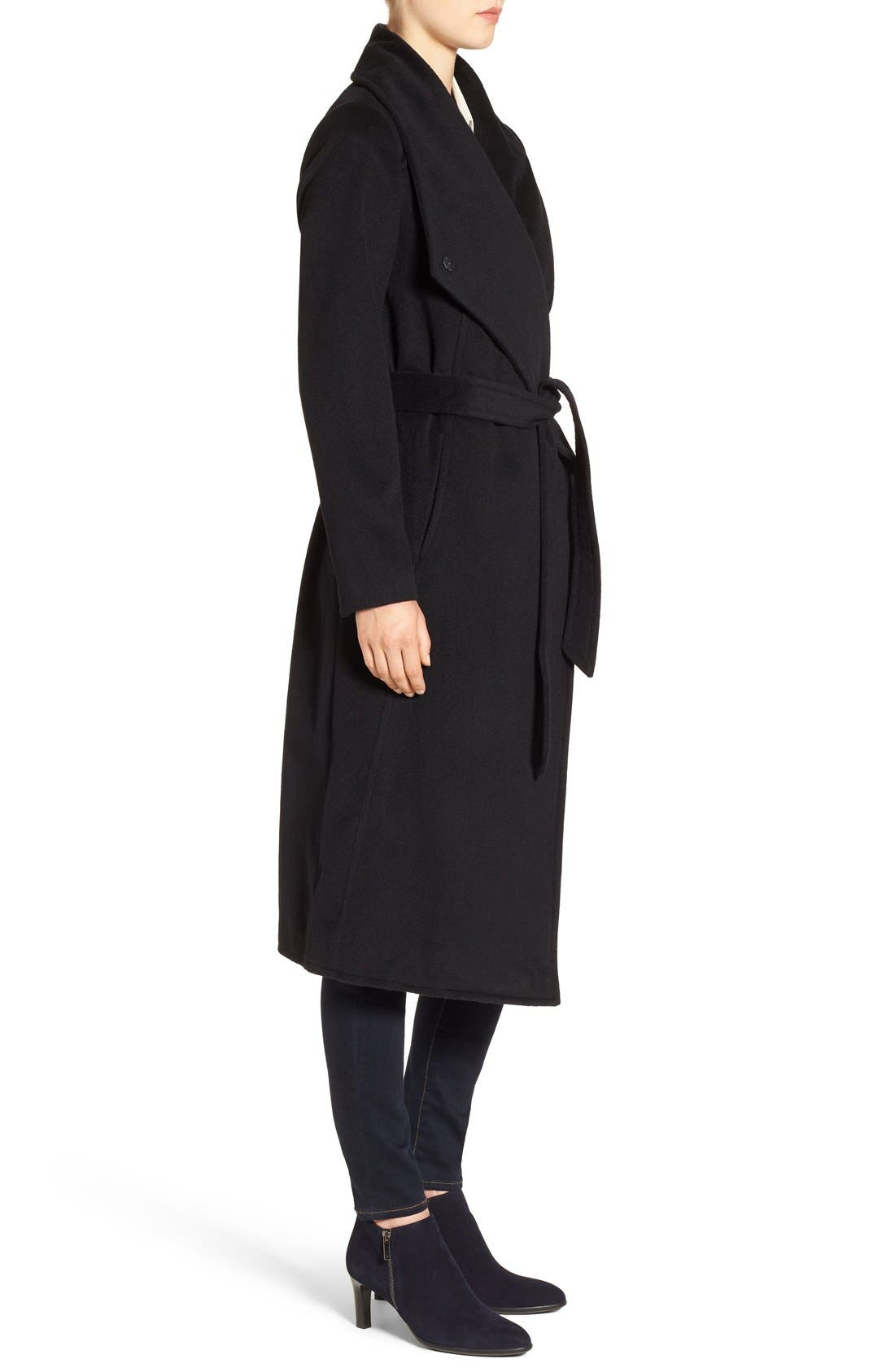 Drape Front Wrap Coat,                             Alternate thumbnail 3, color,                             001