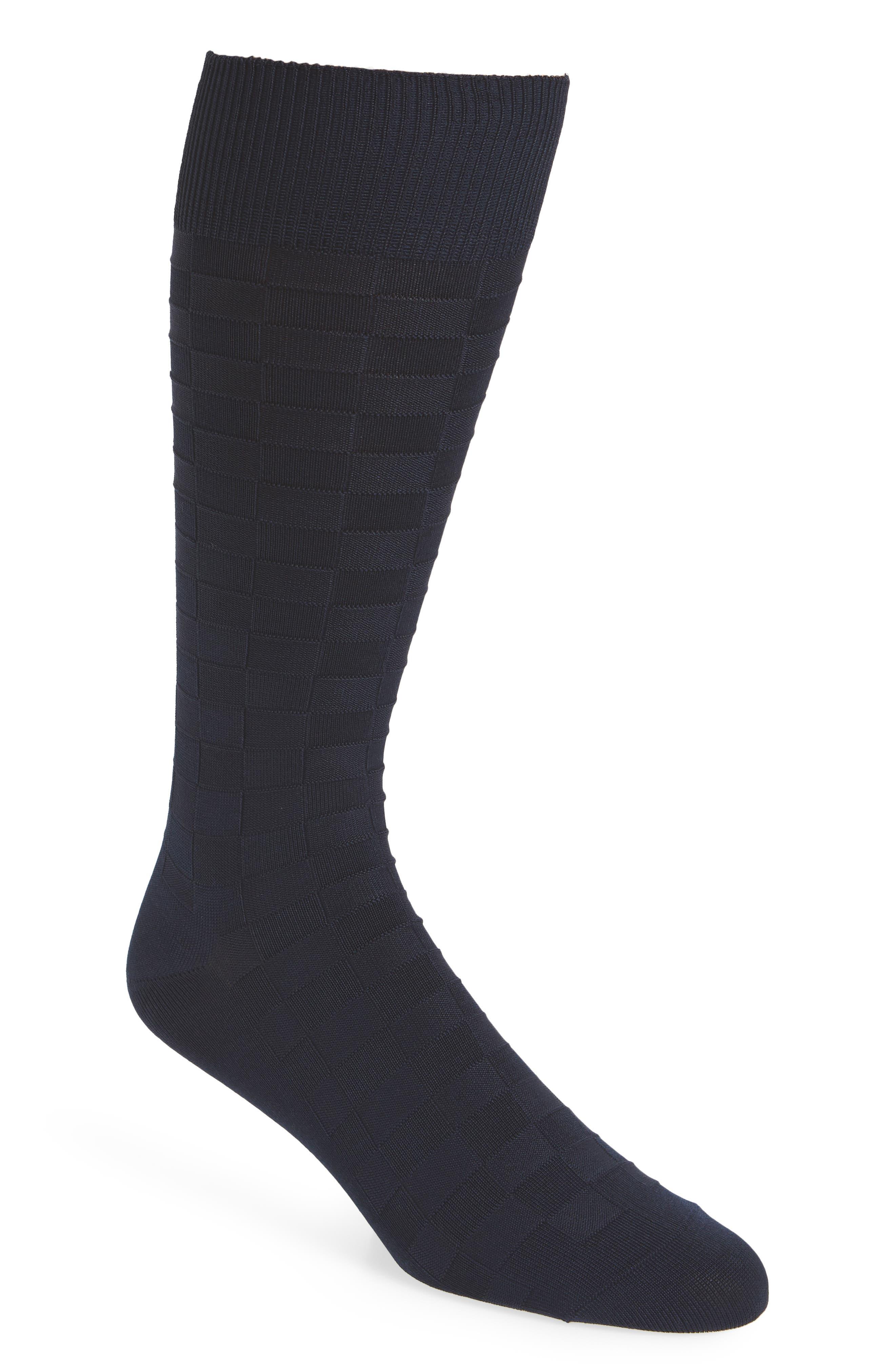 Grid Socks,                             Main thumbnail 1, color,                             NAVY