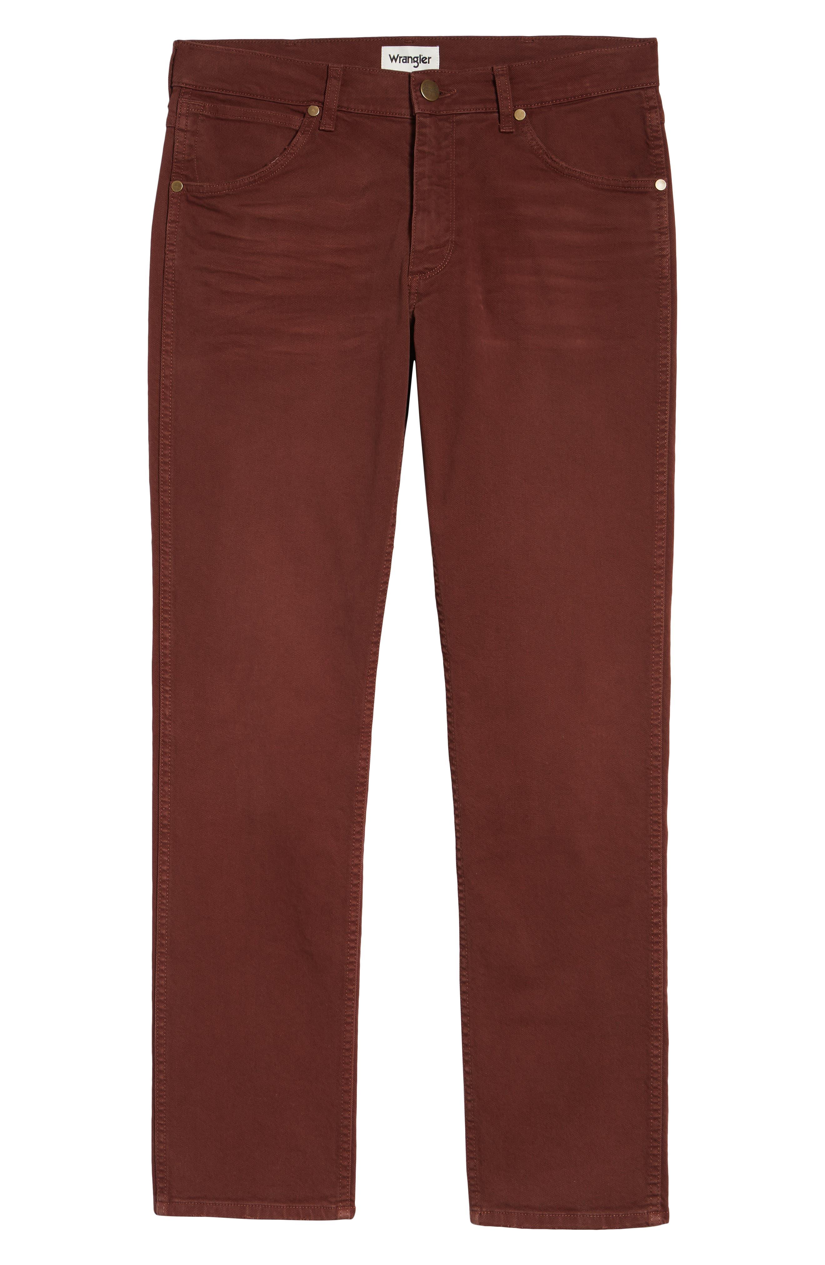 Greensboro Straight Leg Twill Pants,                             Alternate thumbnail 6, color,                             MAHOGANY RED