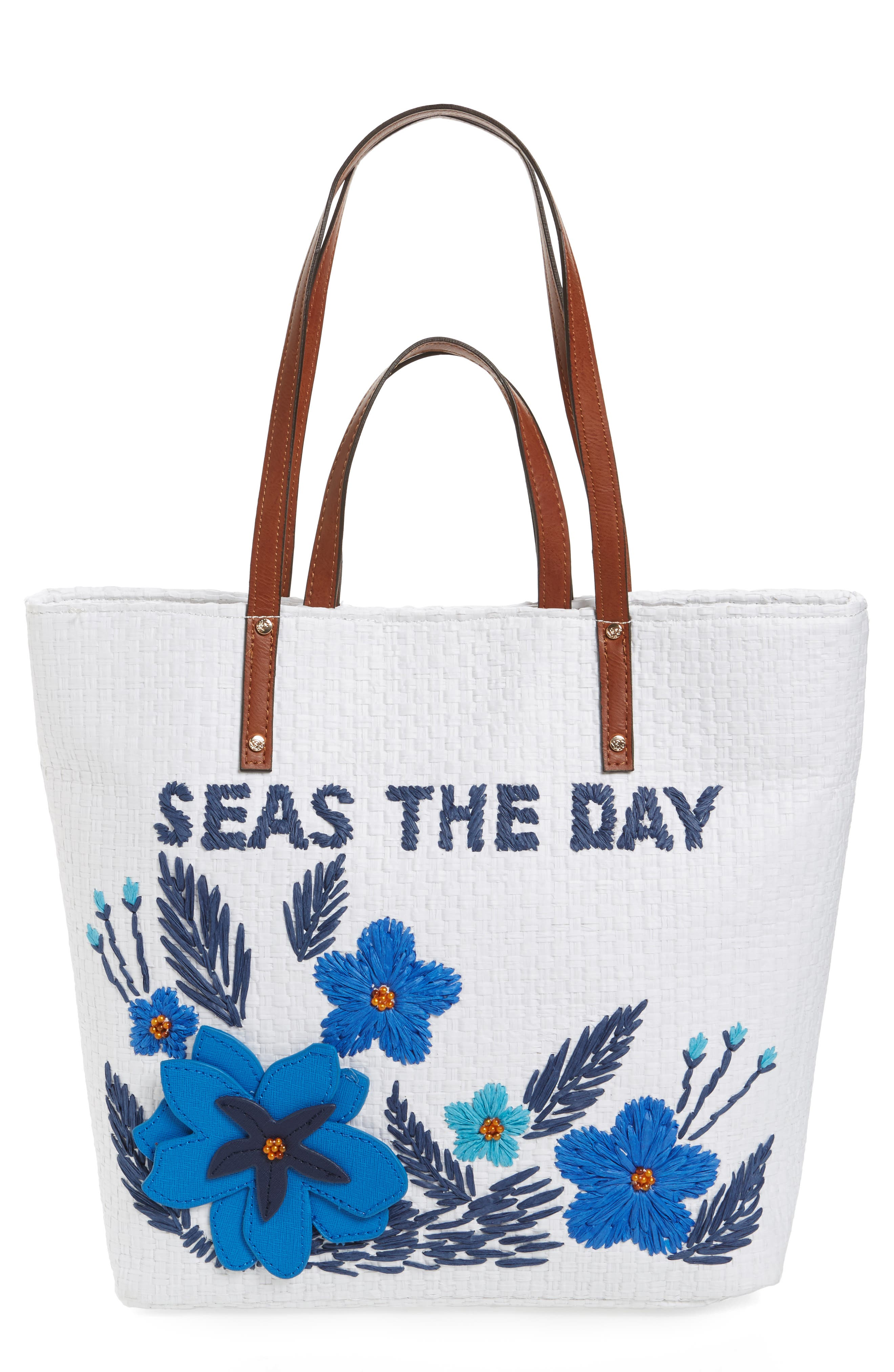 Athen - Seas the Day Embroidered Straw Tote,                             Main thumbnail 1, color,                             400