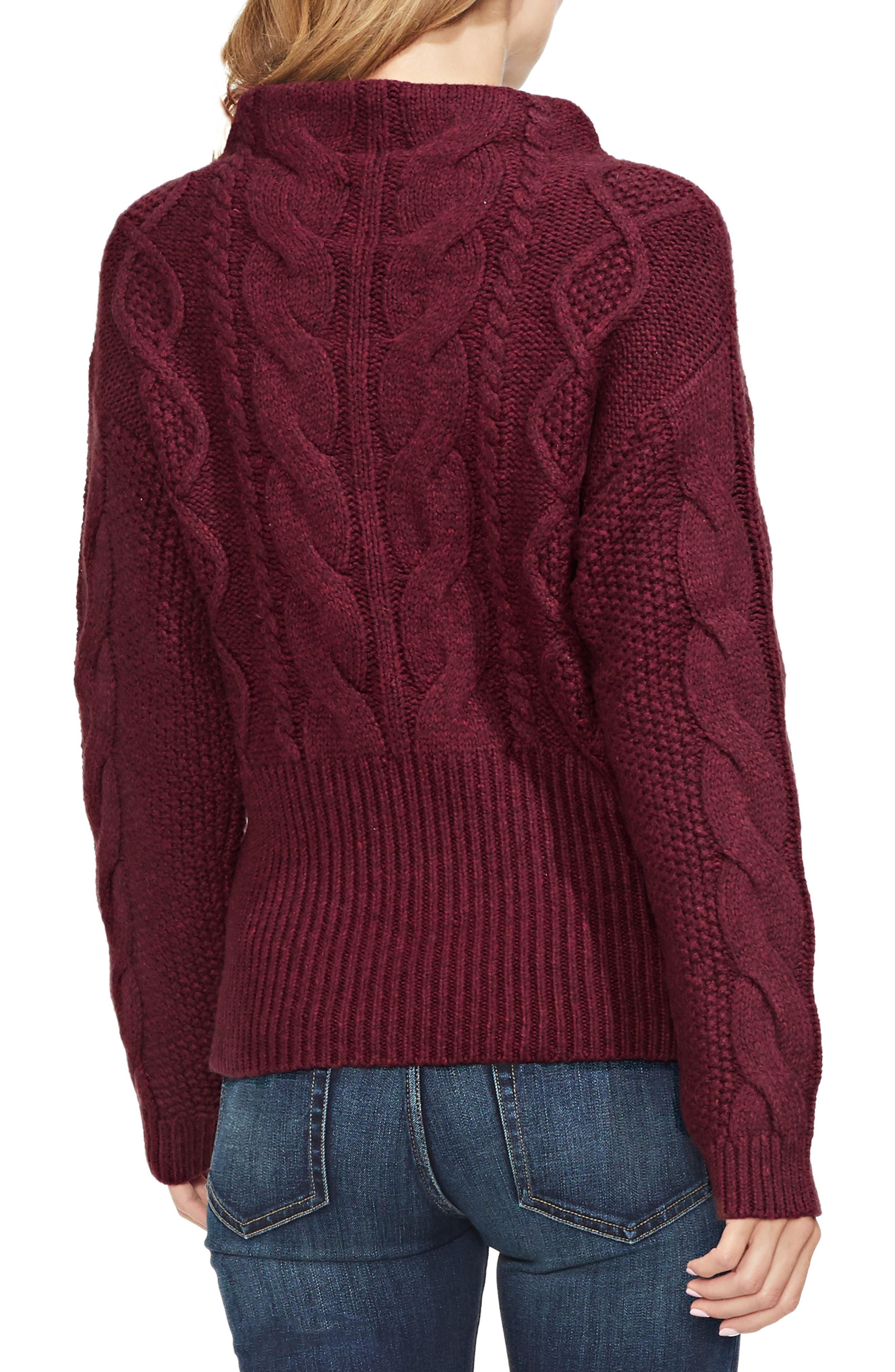 Cotton Blend Cable Knit Sweater,                             Alternate thumbnail 3, color,                             MANOR RED