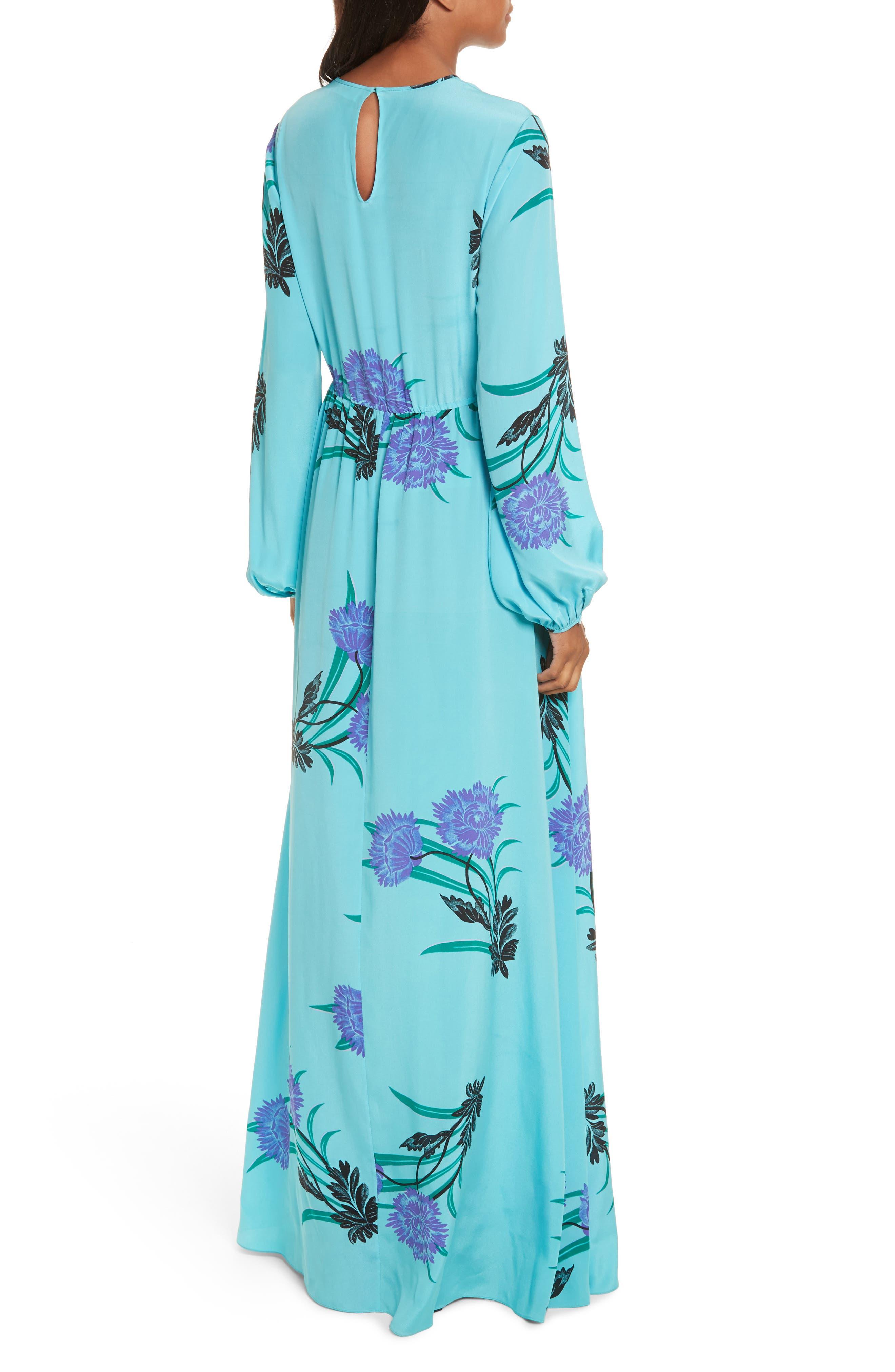 Floral Print Stretch-Silk Maxi Dress,                             Alternate thumbnail 2, color,                             445
