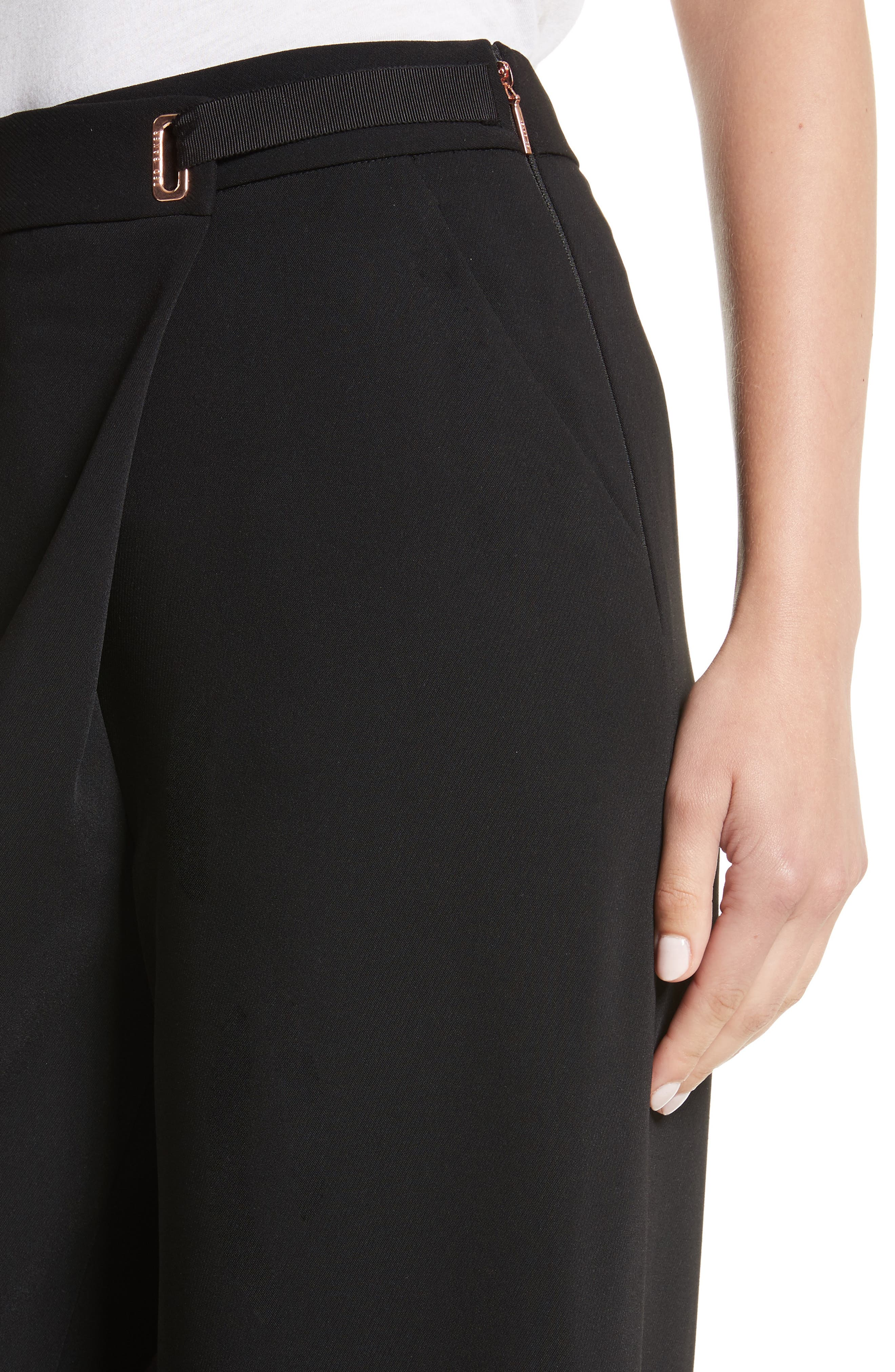 Yasin Wide Leg Wrap Front Trousers,                             Alternate thumbnail 4, color,                             001