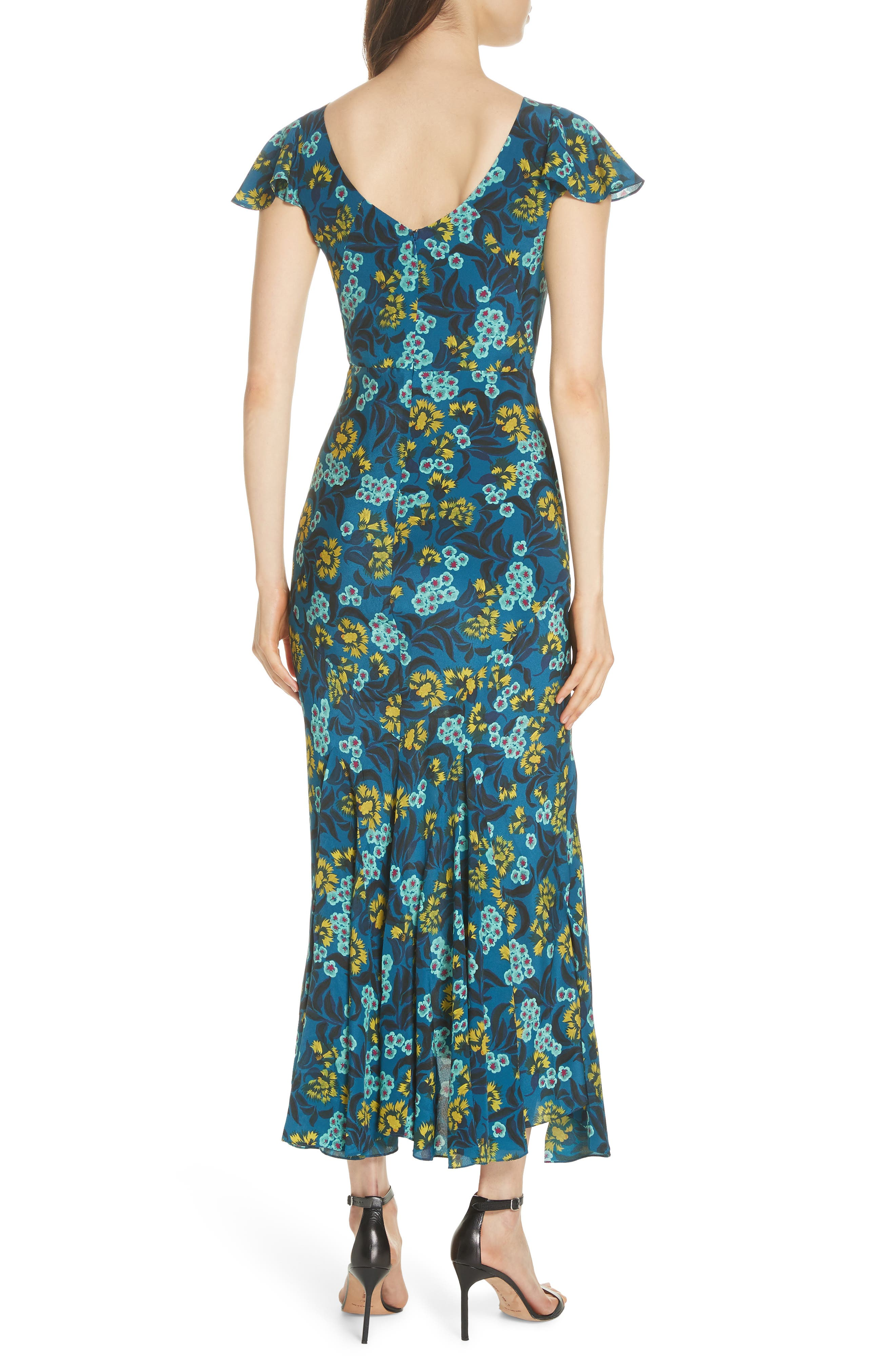 Daphne Floral Print Dress,                             Alternate thumbnail 2, color,                             TEAL AZALEA