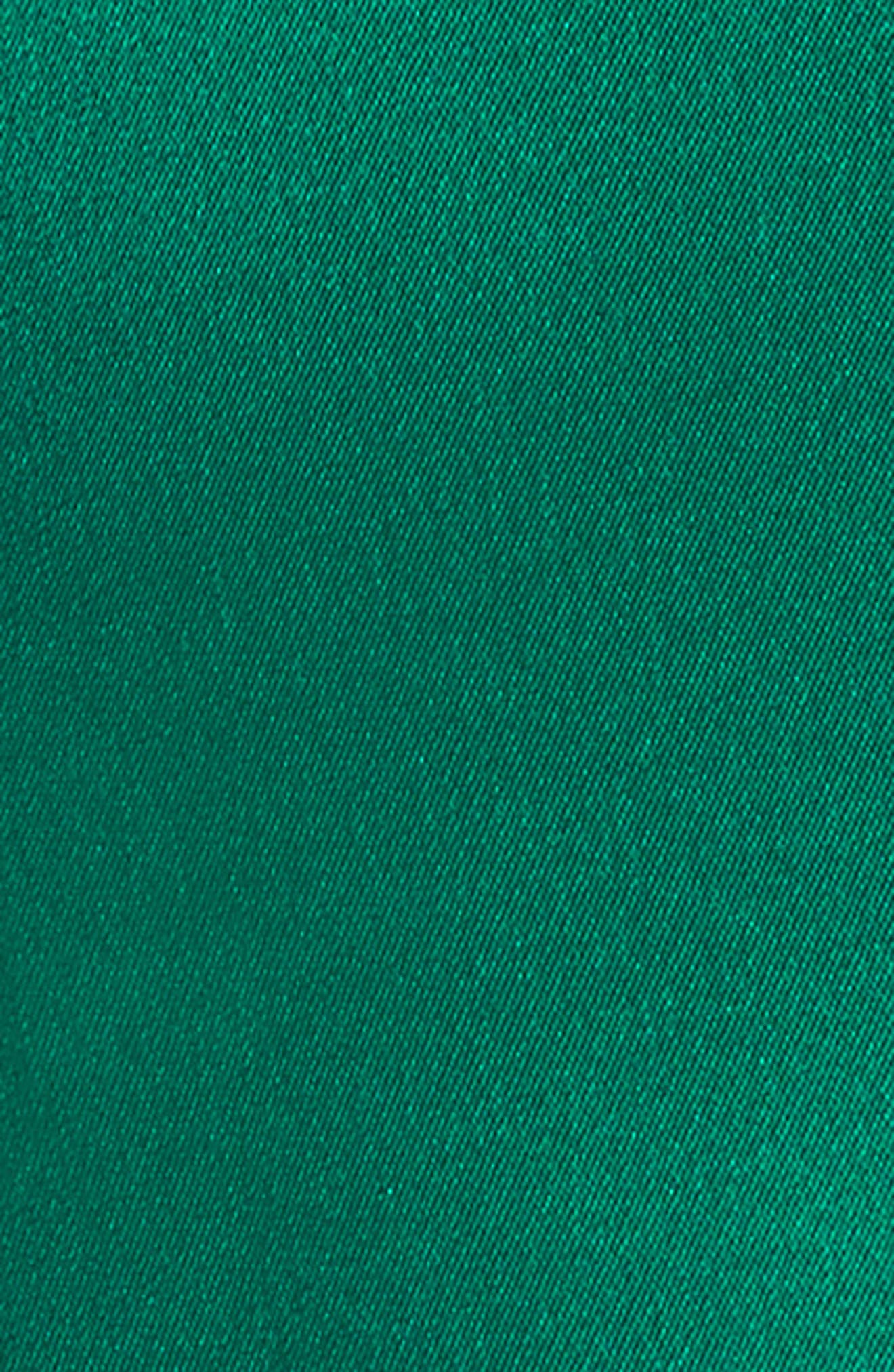 Crepe Satin V-Neck Gown,                             Alternate thumbnail 5, color,                             EMERALD