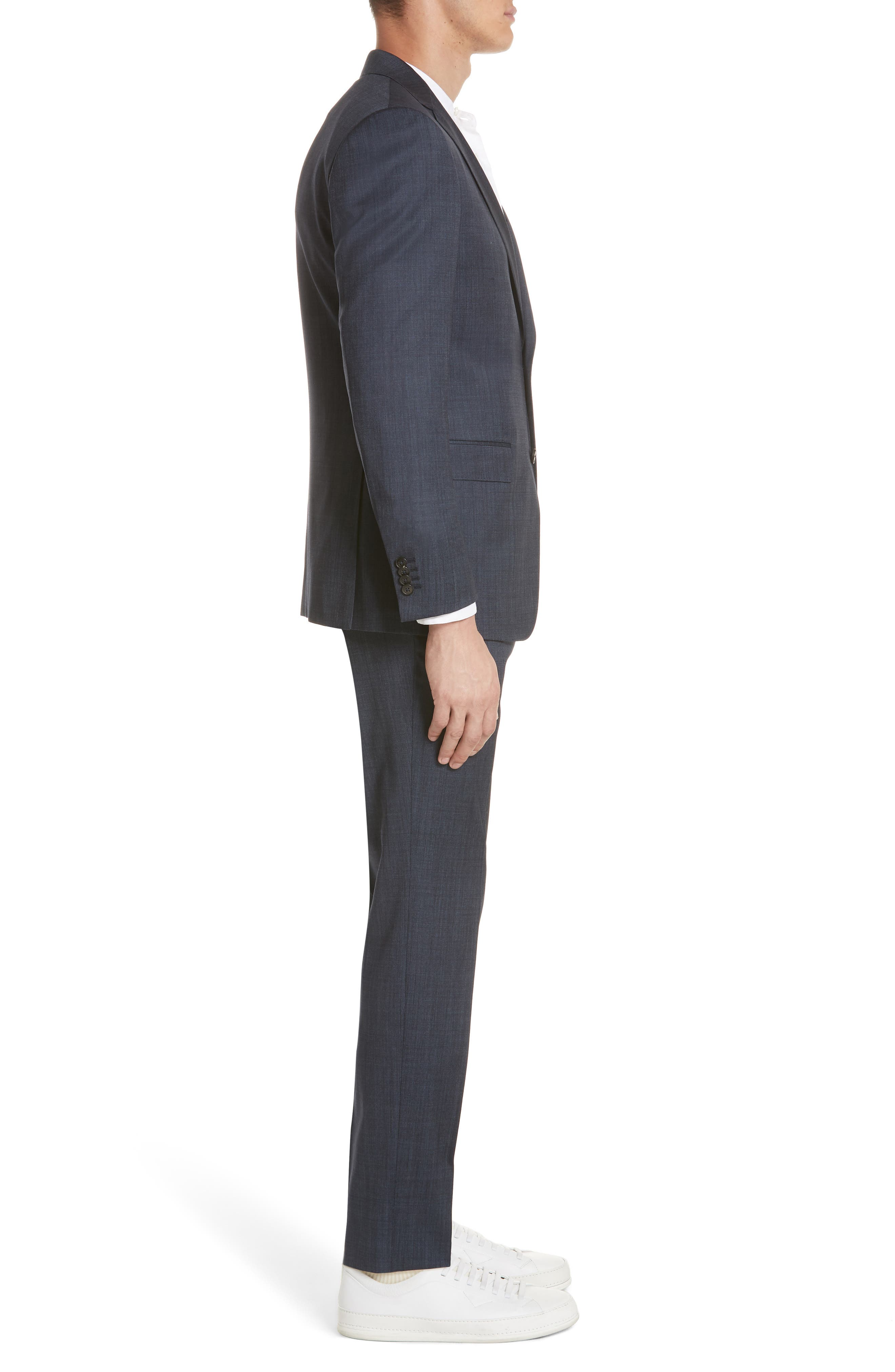 Trim Fit Solid Wool & Silk Suit,                             Alternate thumbnail 3, color,                             412