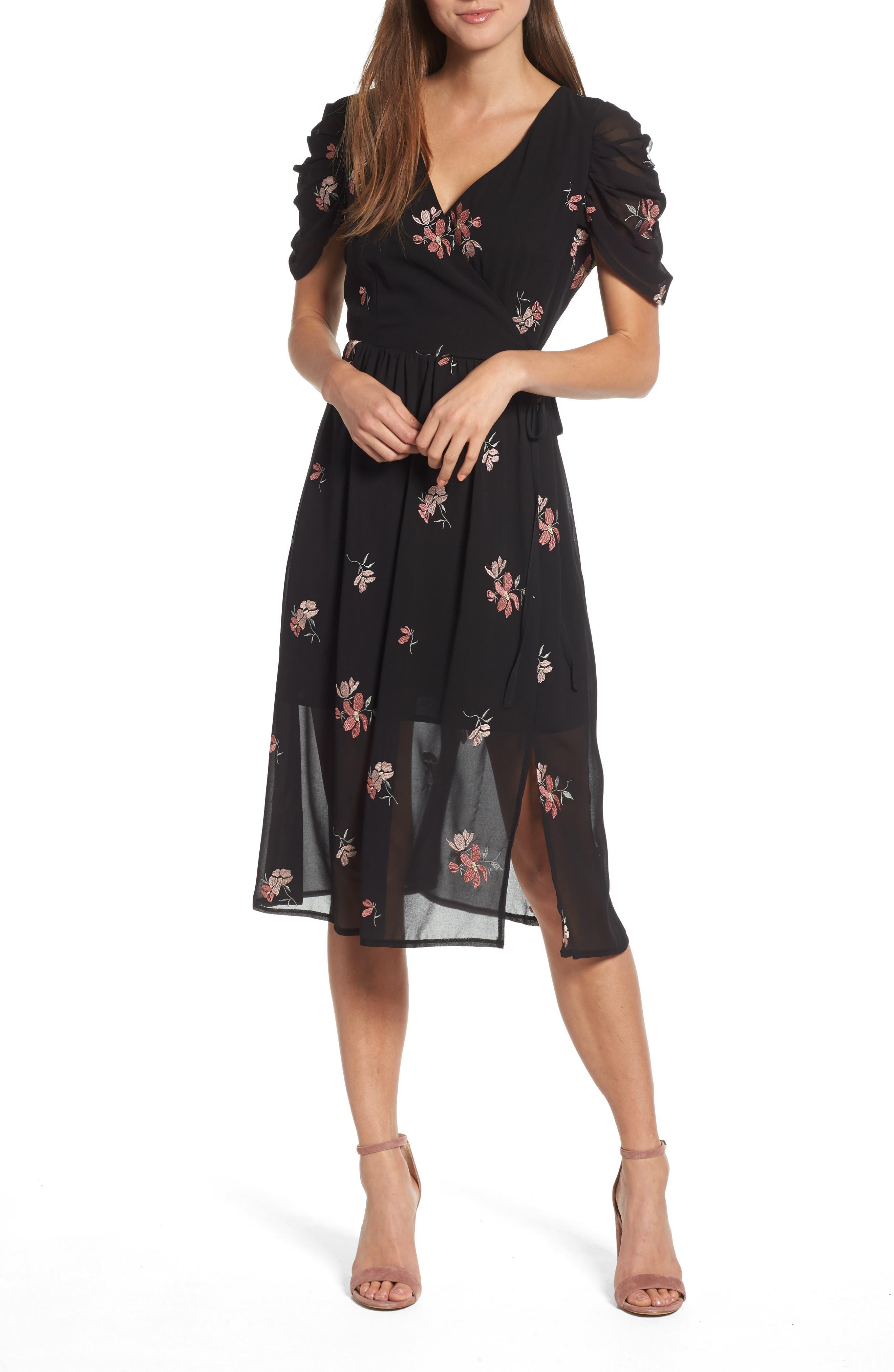 Floral Embroidered Wrap Midi Dress,                             Main thumbnail 1, color,                             BLACK