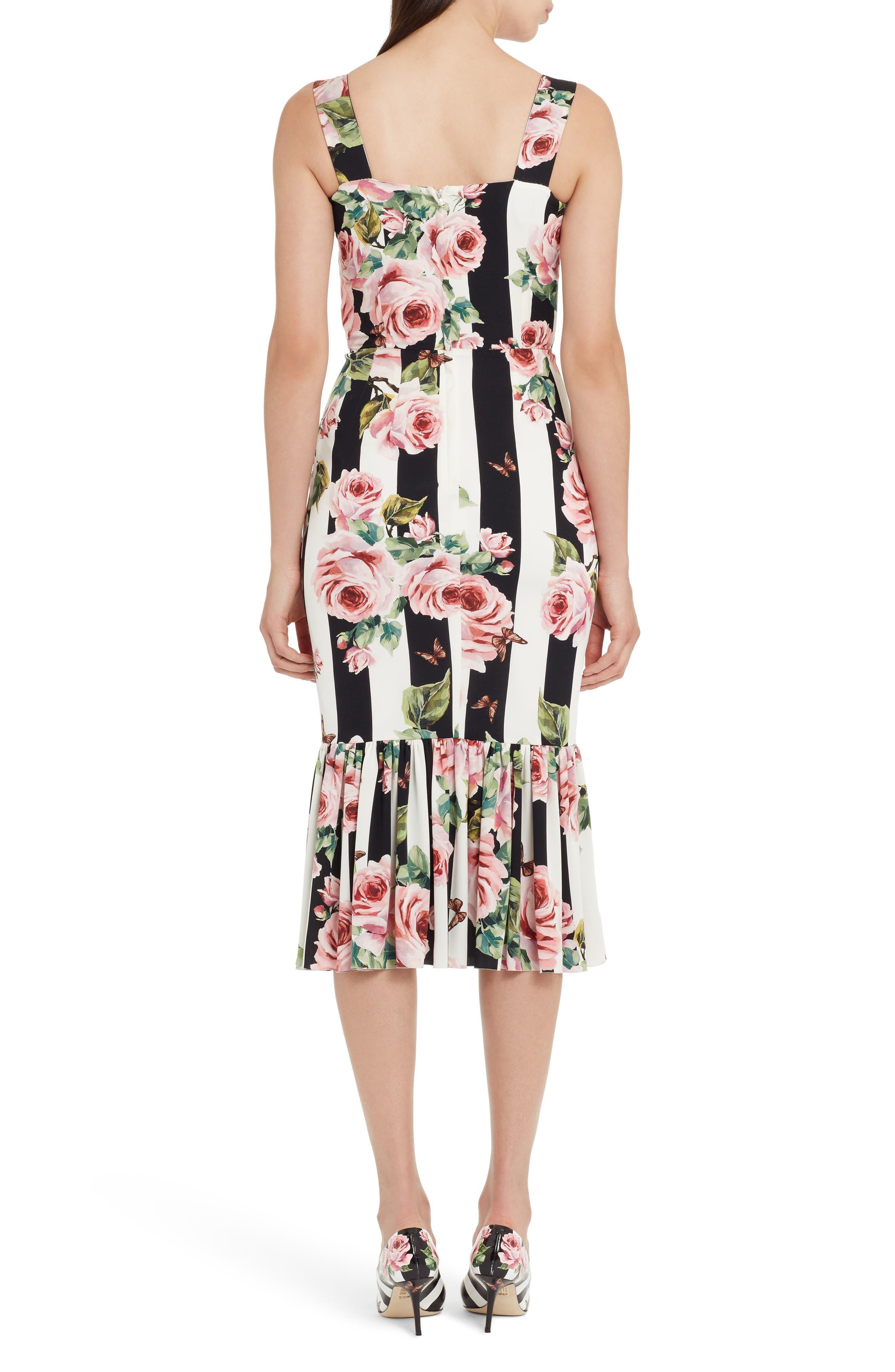 Stripe Rose Print Stretch Silk Dress,                             Alternate thumbnail 2, color,                             115