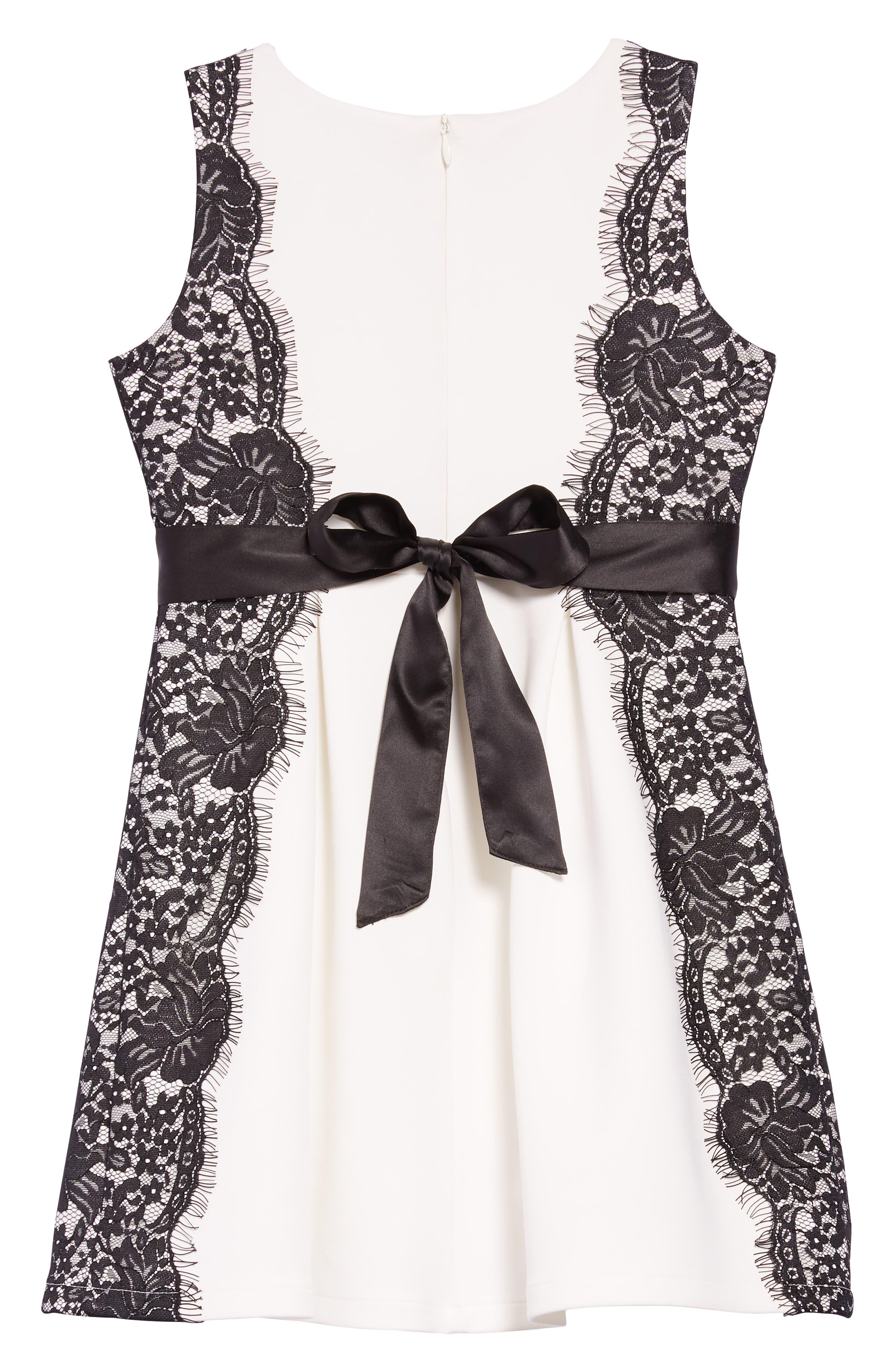 Lace Trim Skater Dress,                             Alternate thumbnail 2, color,                             WHITE