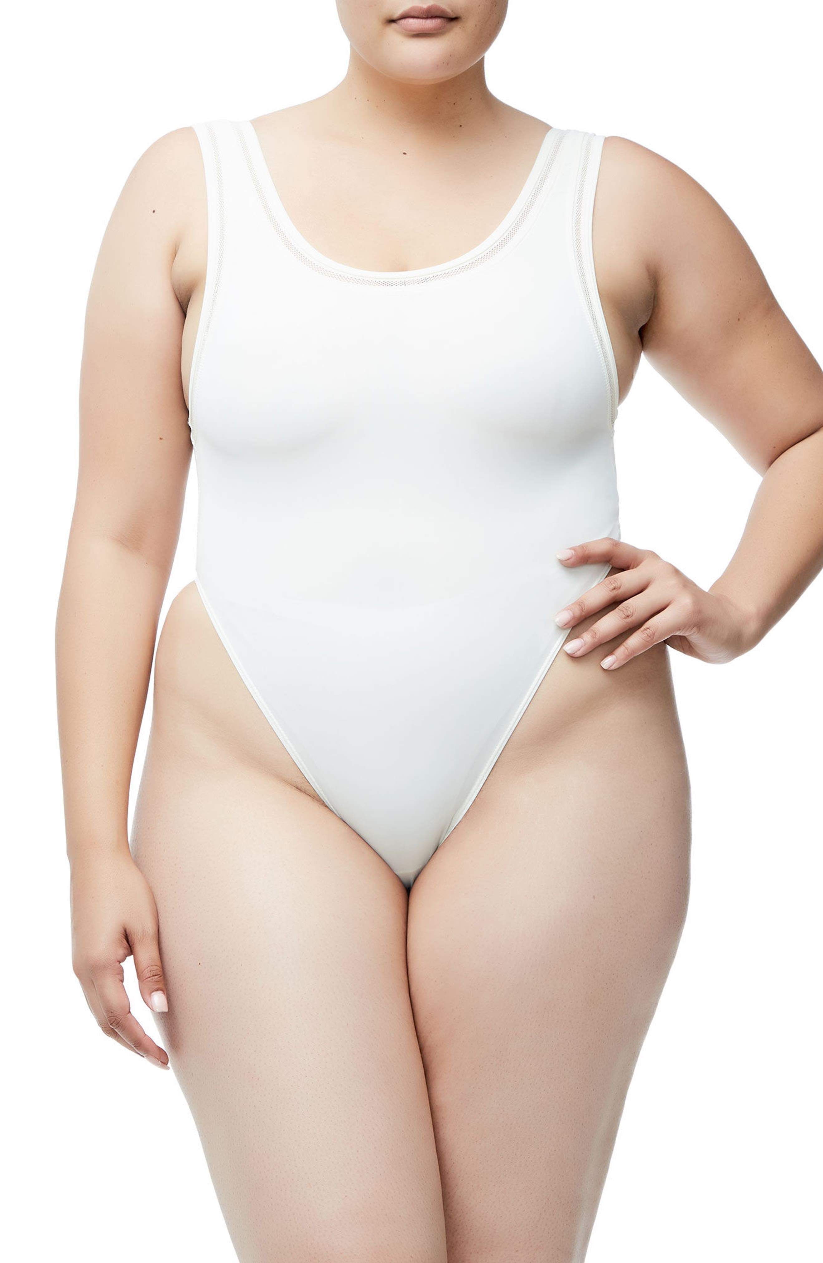 GOOD AMERICAN,                             Good Body Khlo Thong Bodysuit,                             Alternate thumbnail 3, color,                             120