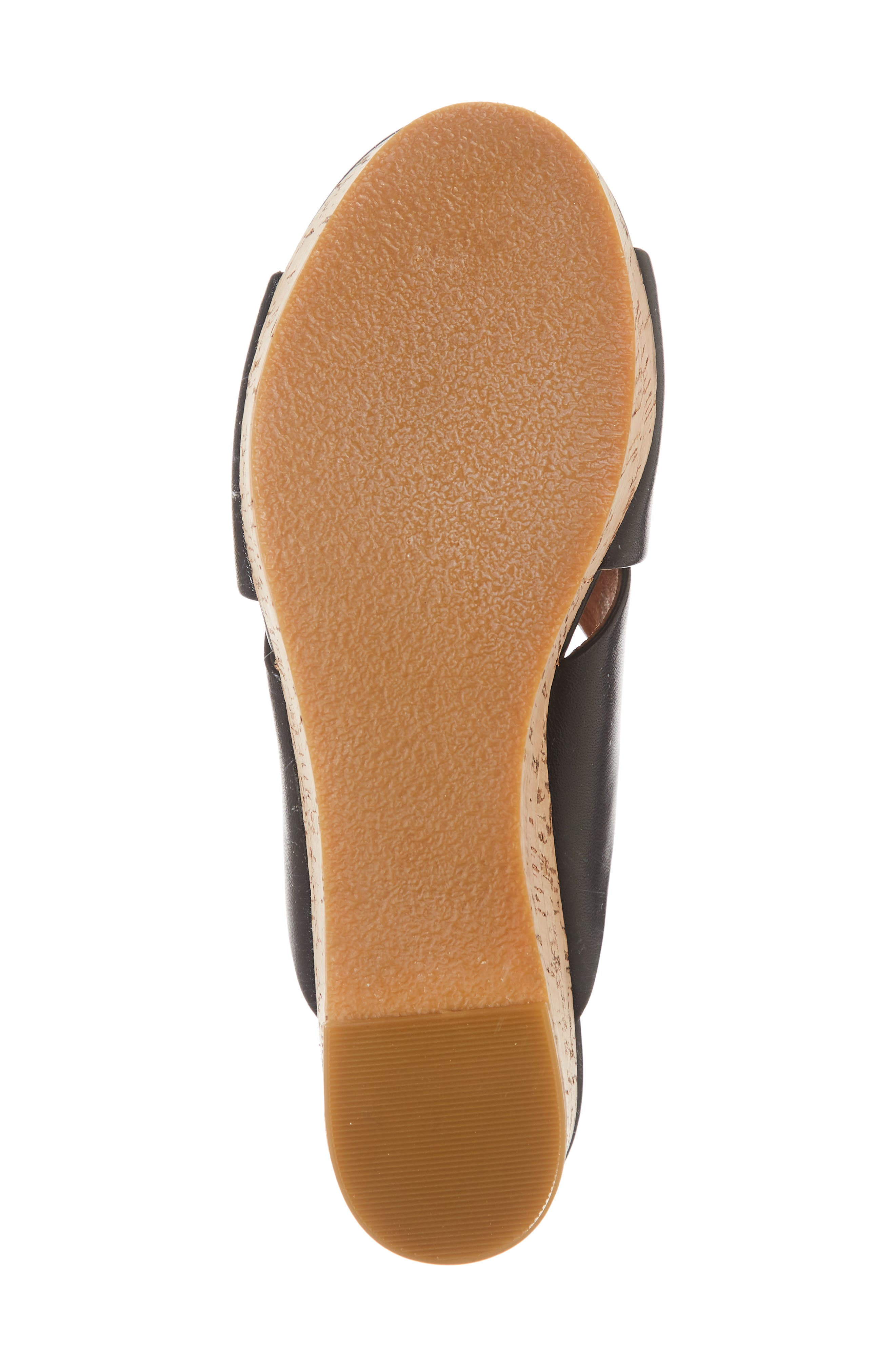 Elena Platform Wedge Sandal,                             Alternate thumbnail 6, color,                             BLACK LEATHER