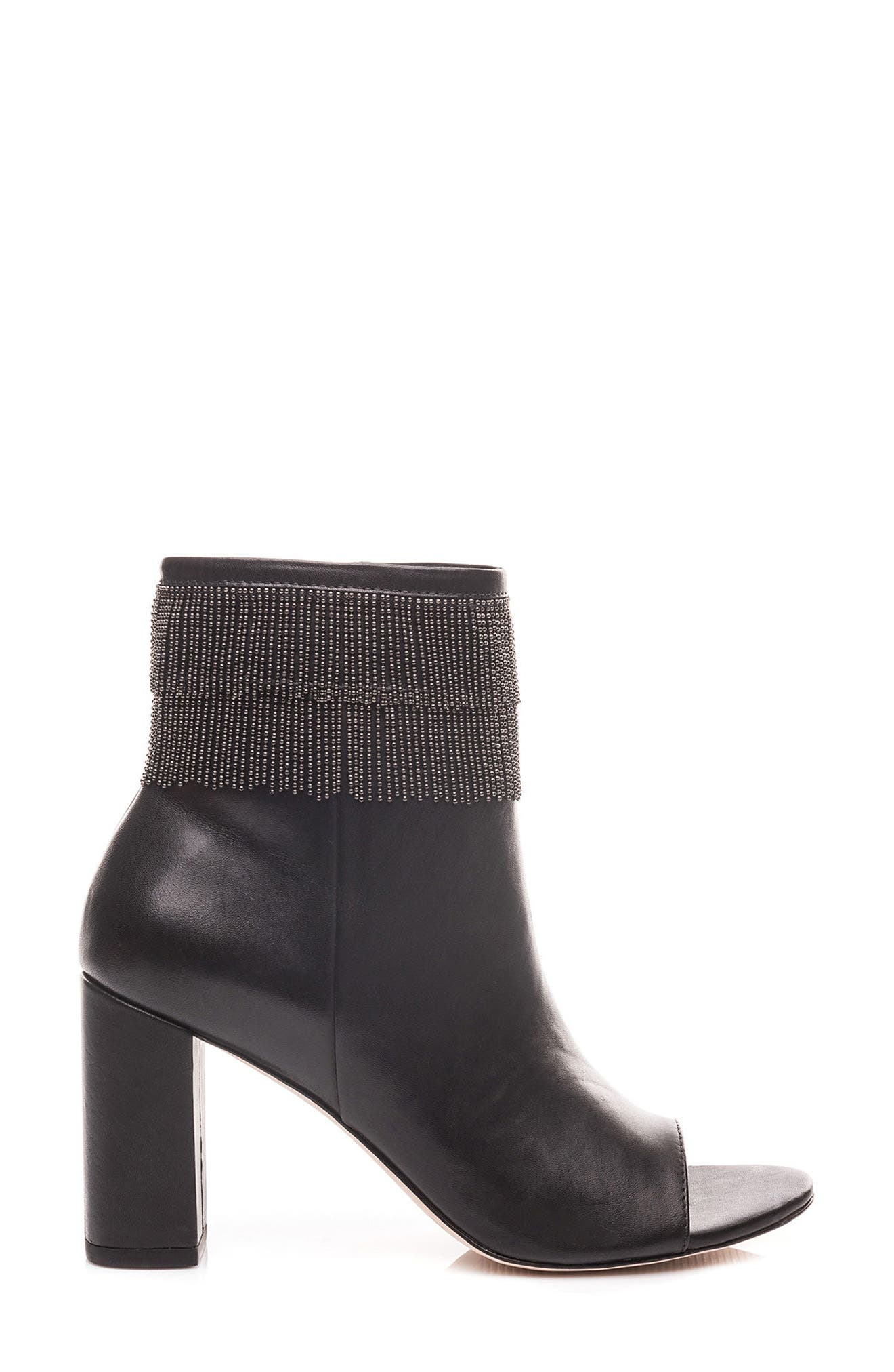 Honour Fringe Peep Toe Bootie,                             Alternate thumbnail 3, color,                             001