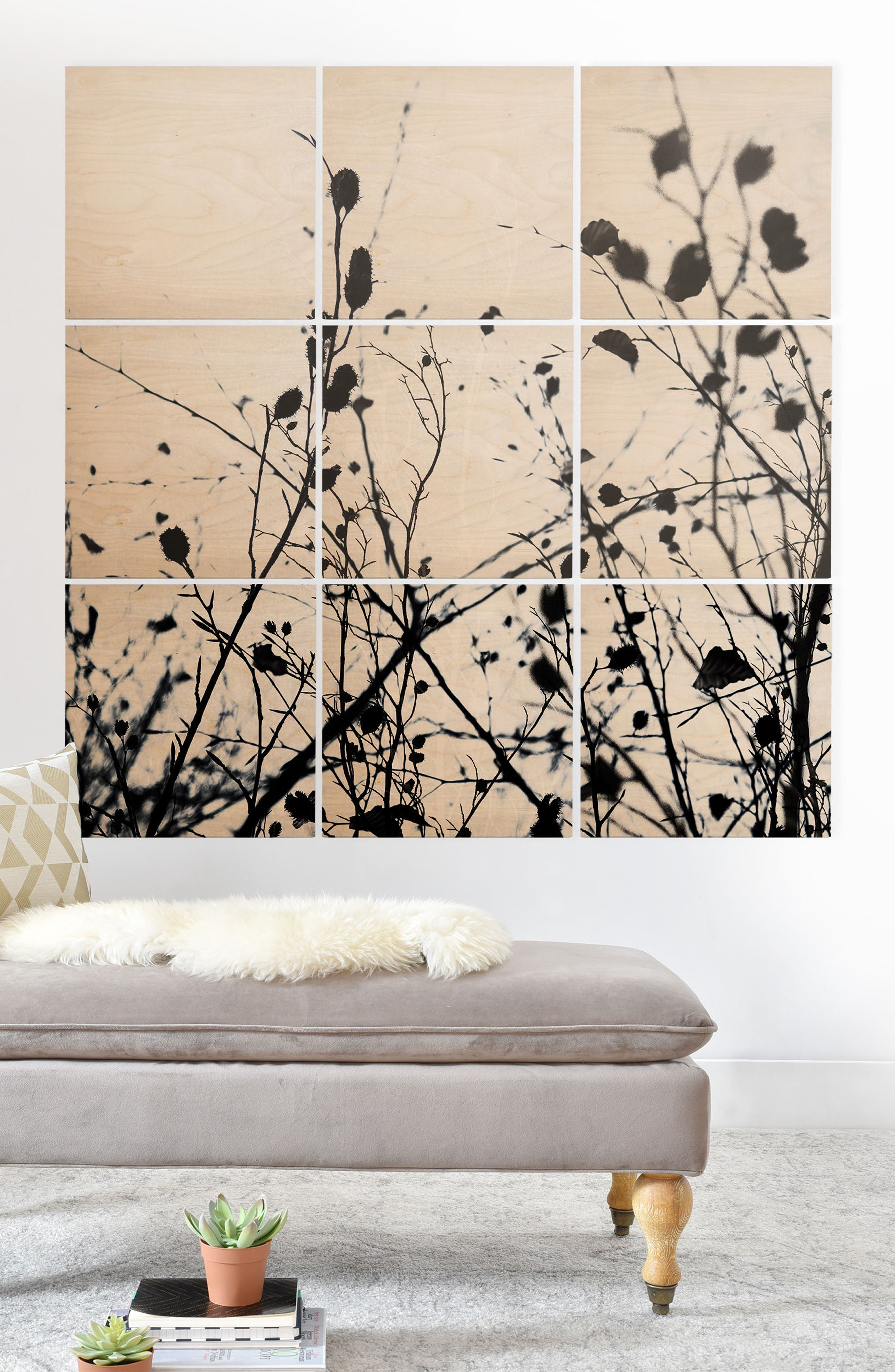 Branches 9-Piece Wood Wall Mural,                             Alternate thumbnail 2, color,                             BLACK/ WHITE