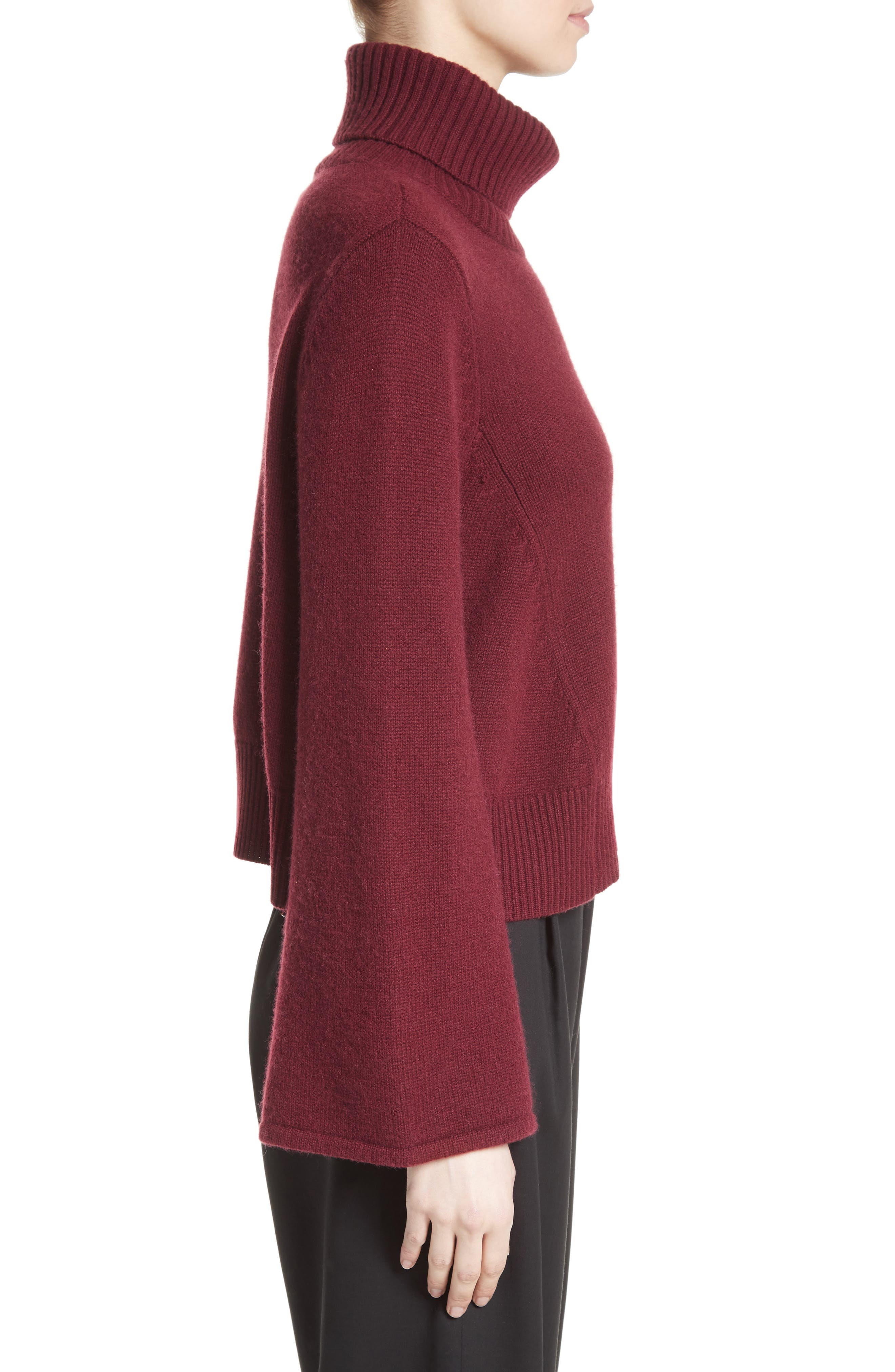Bell Sleeve Wool & Cashmere Sweater,                             Alternate thumbnail 3, color,                             930
