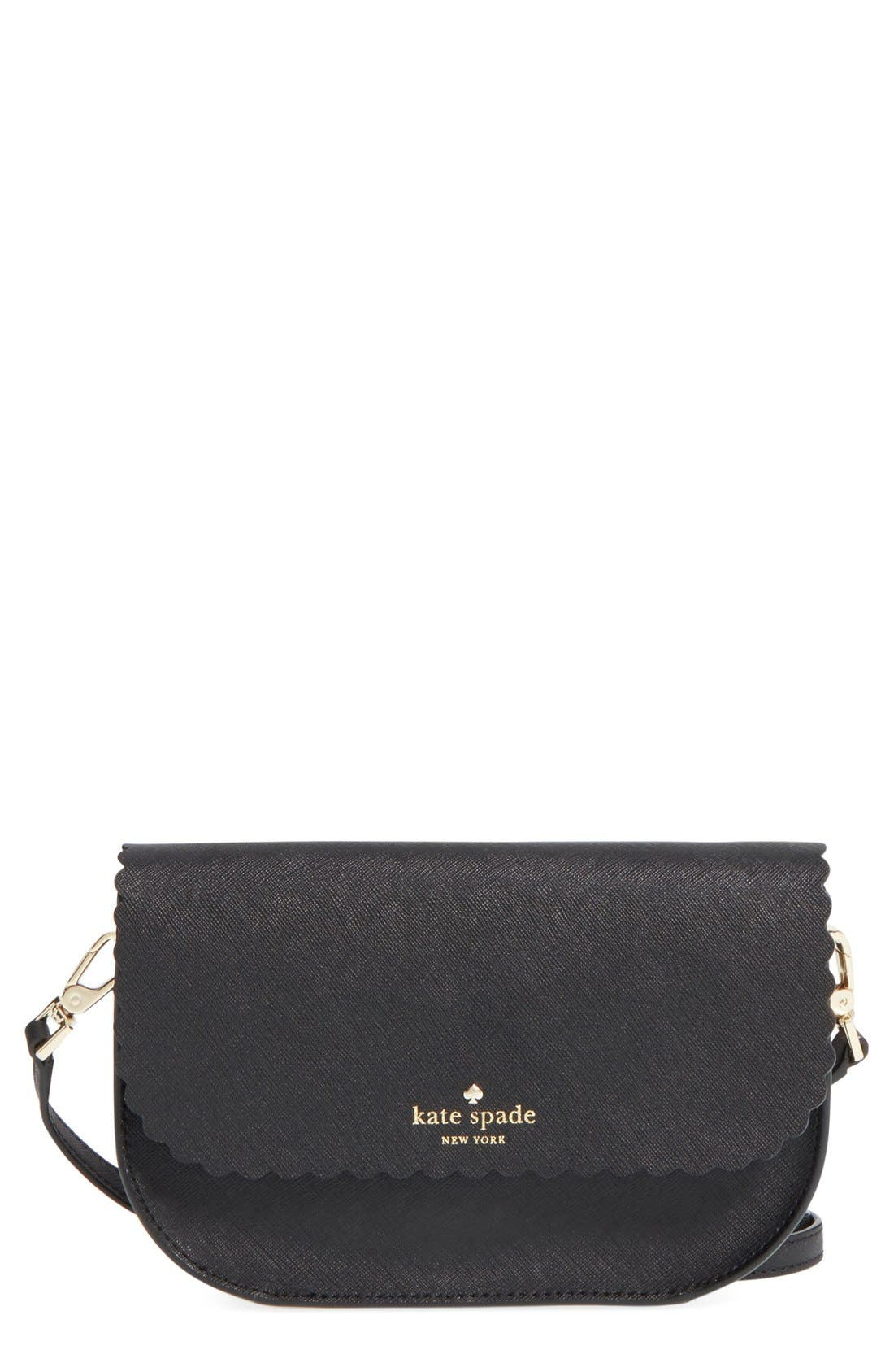 'cape drive - jettie' scalloped leather crossbody bag,                             Main thumbnail 1, color,                             001