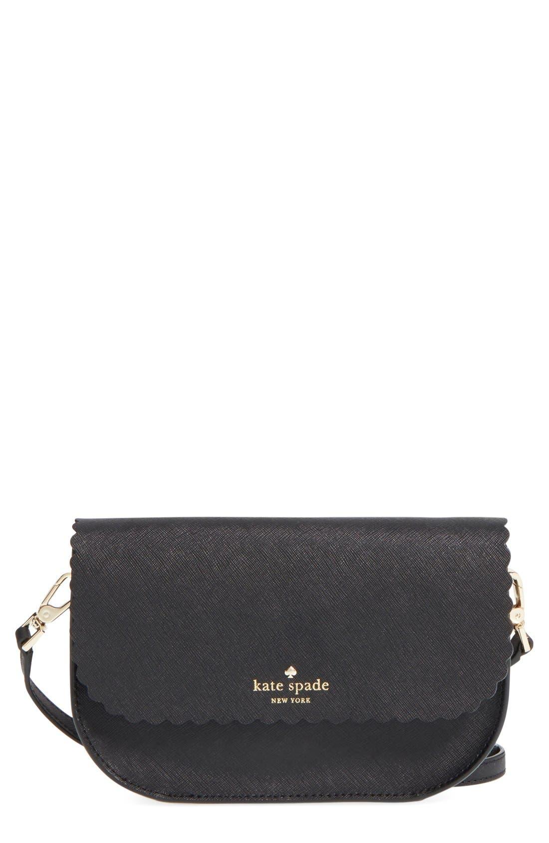 'cape drive - jettie' scalloped leather crossbody bag,                         Main,                         color, 001