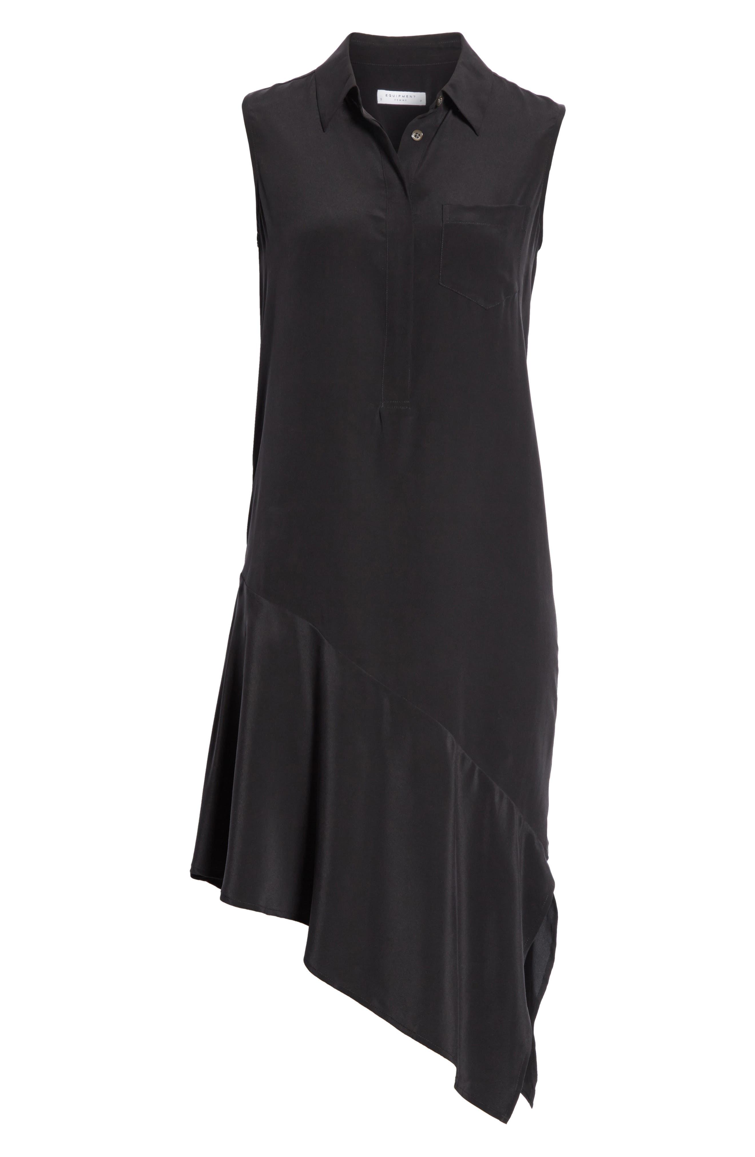 Tira Asymmetrical Hem Silk Shirtdress,                             Alternate thumbnail 6, color,                             003