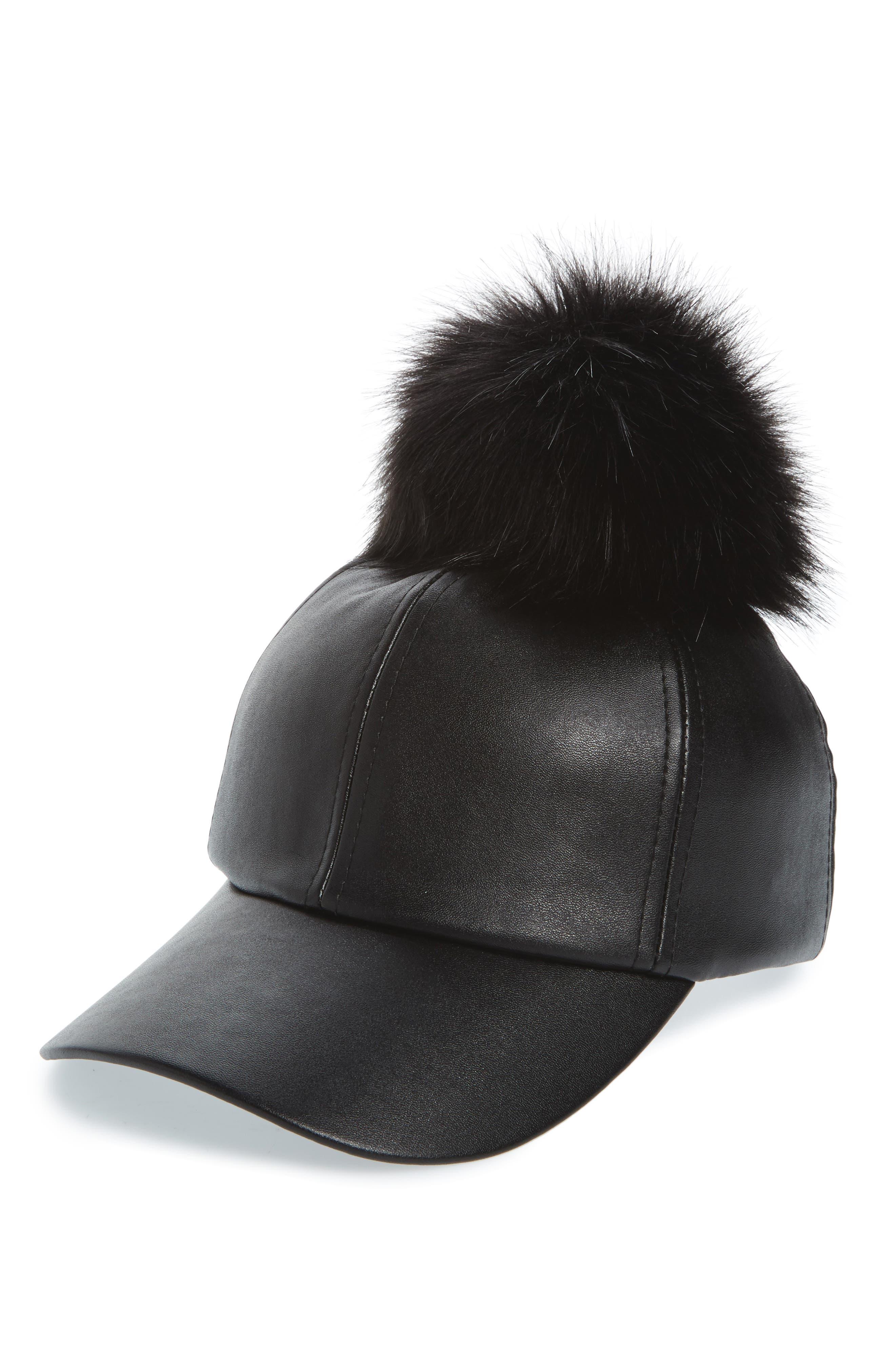 Faux Leather Cap with Faux Fur Pompom,                         Main,                         color,