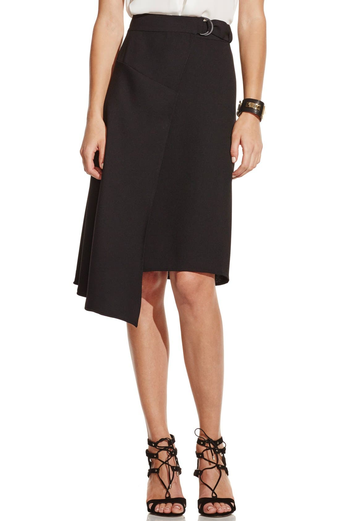 Asymmetrical Belted Wrap Skirt,                             Main thumbnail 1, color,                             001