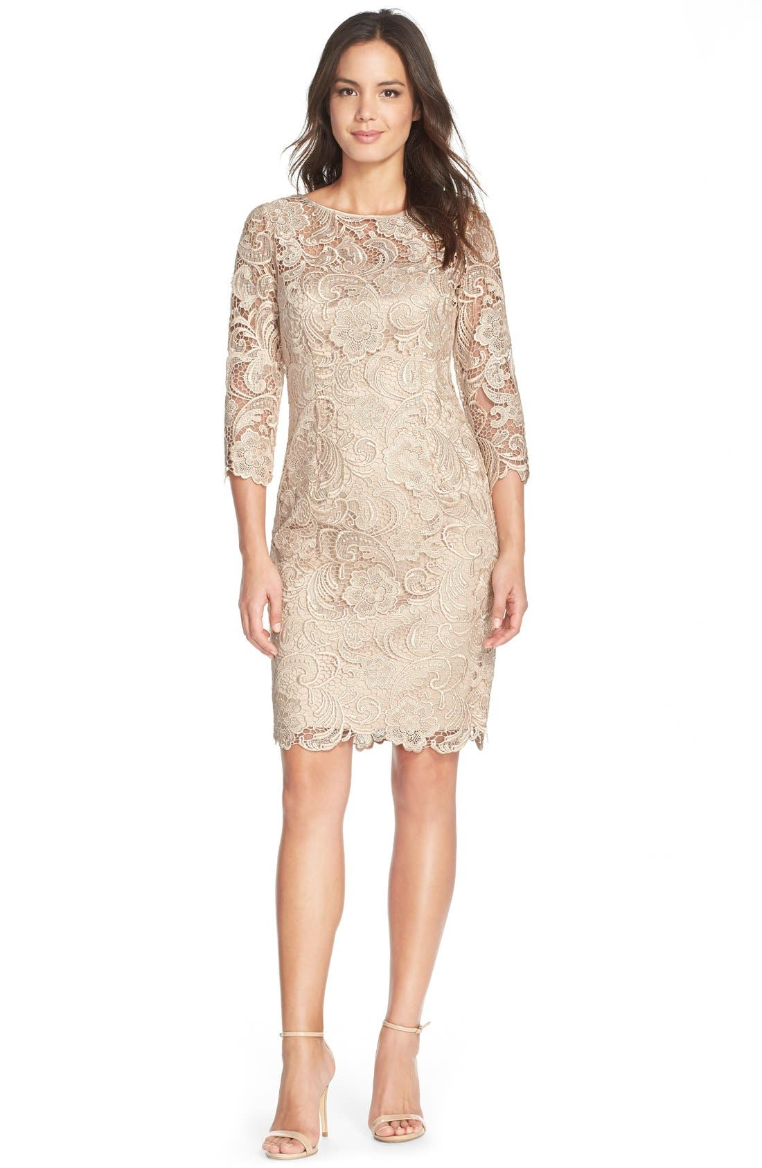 ADRIANNA PAPELL,                             Illusion Yoke Guipure Lace Sheath Dress,                             Alternate thumbnail 3, color,                             250
