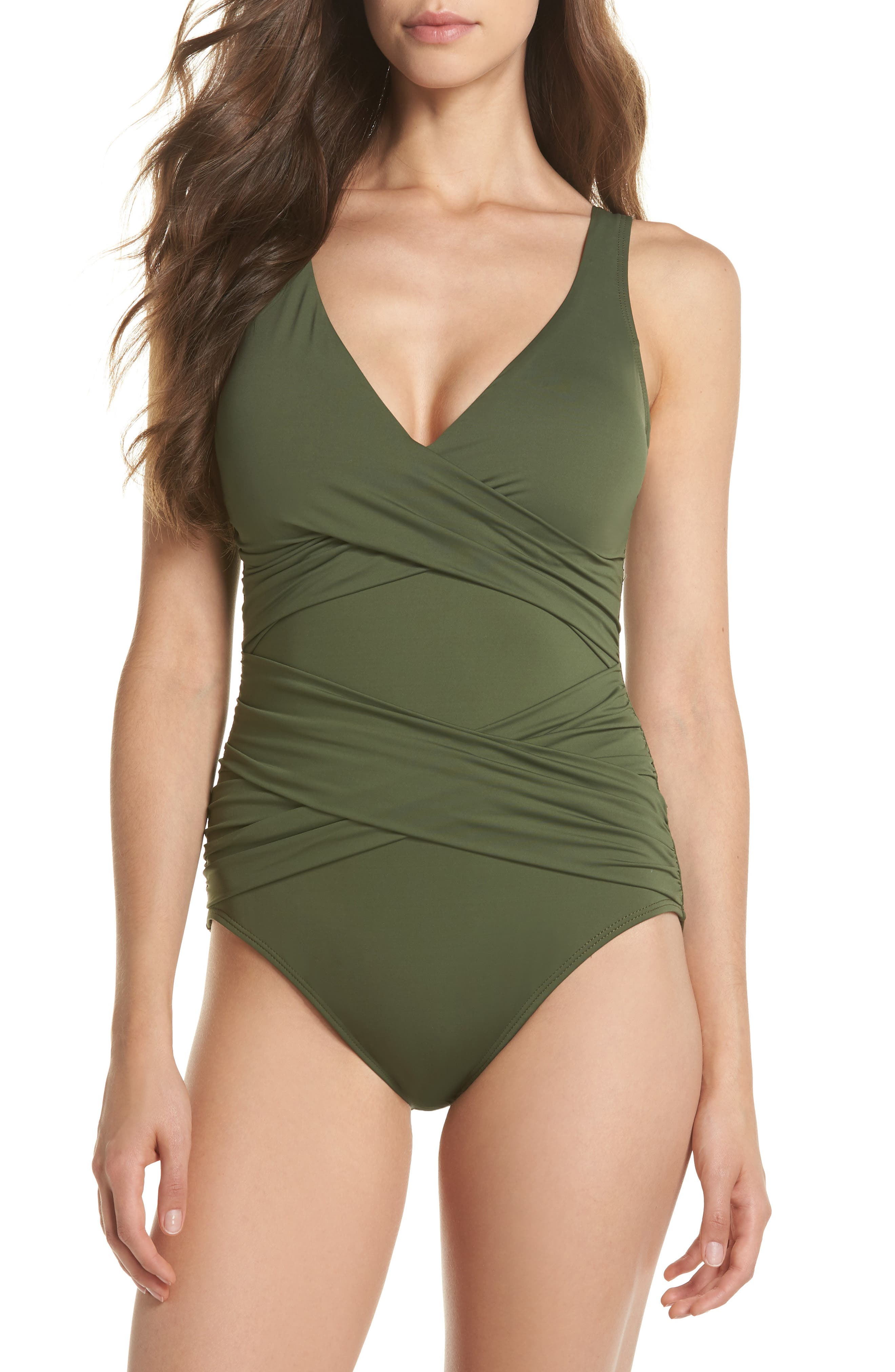 TOMMY BAHAMA,                             Pearl One-Piece Swimsuit,                             Main thumbnail 1, color,                             DARK TEA LEAF