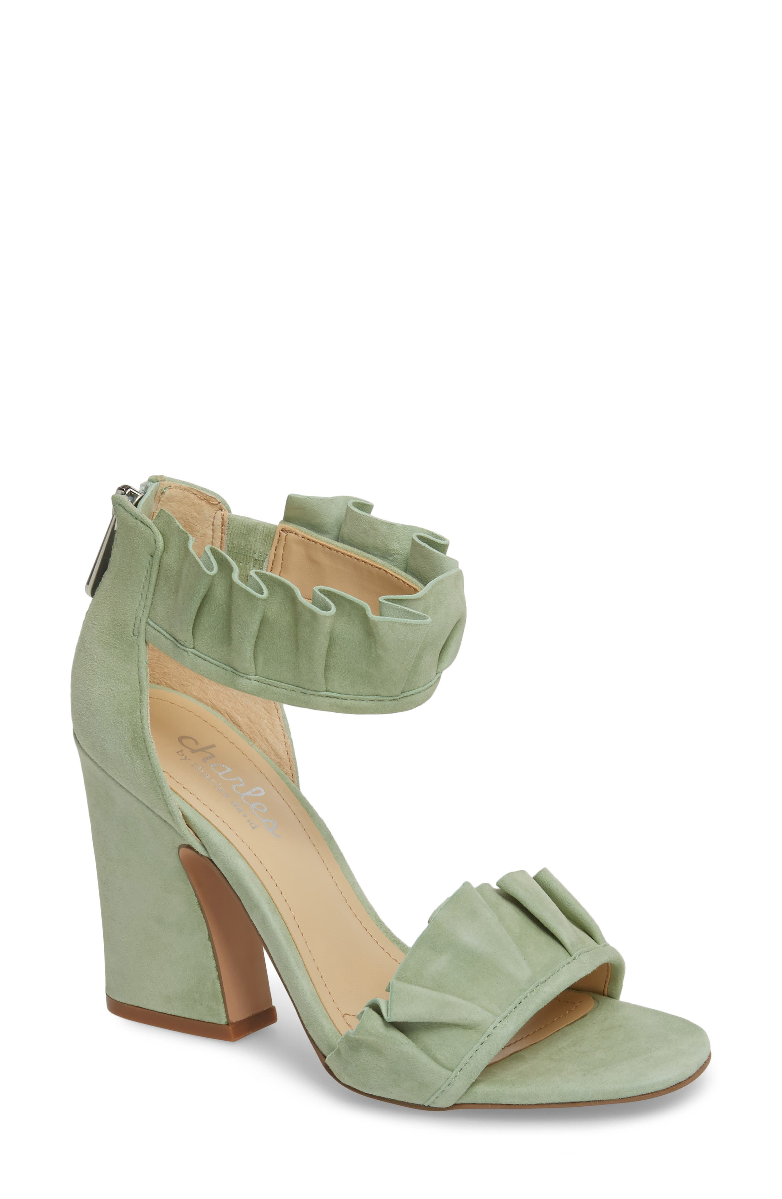 Haley Ruffle Sandal,                             Main thumbnail 1, color,                             MINT SUEDE