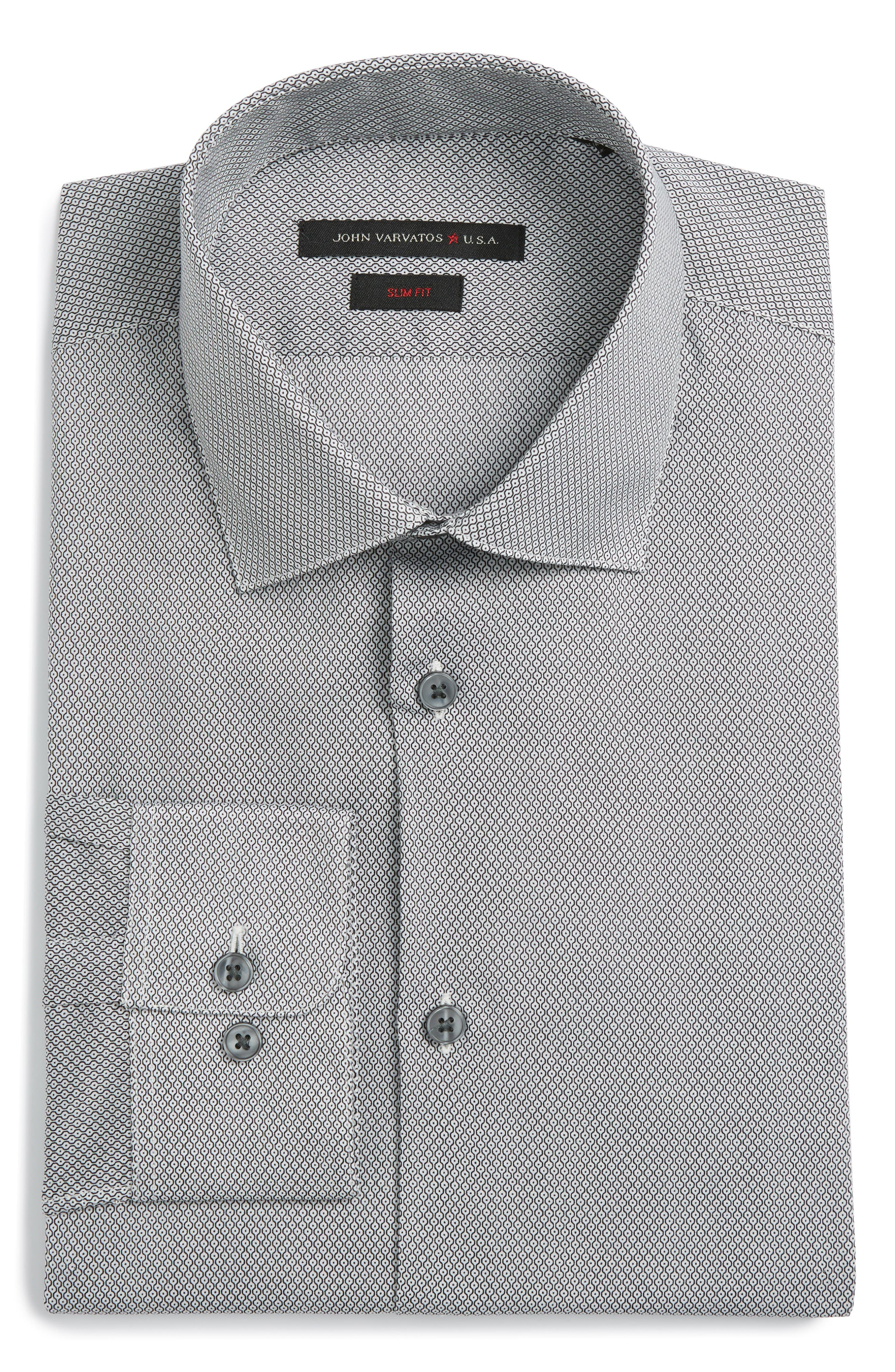 Slim Fit Geometric Dress Shirt,                         Main,                         color, 006