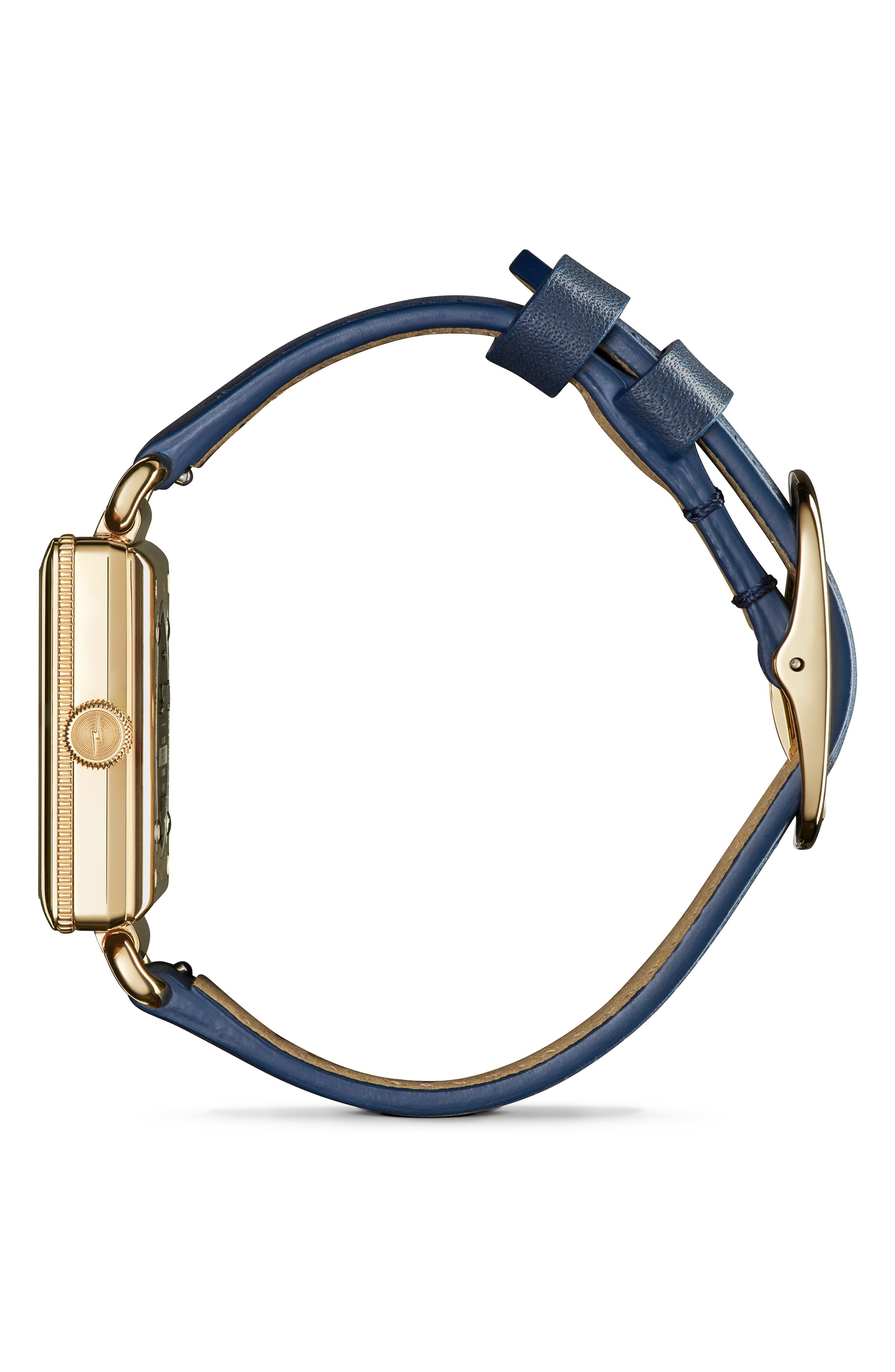 Cass Leather Strap Watch, 28mm,                             Alternate thumbnail 3, color,                             OCEAN/ BLUE/ GOLD