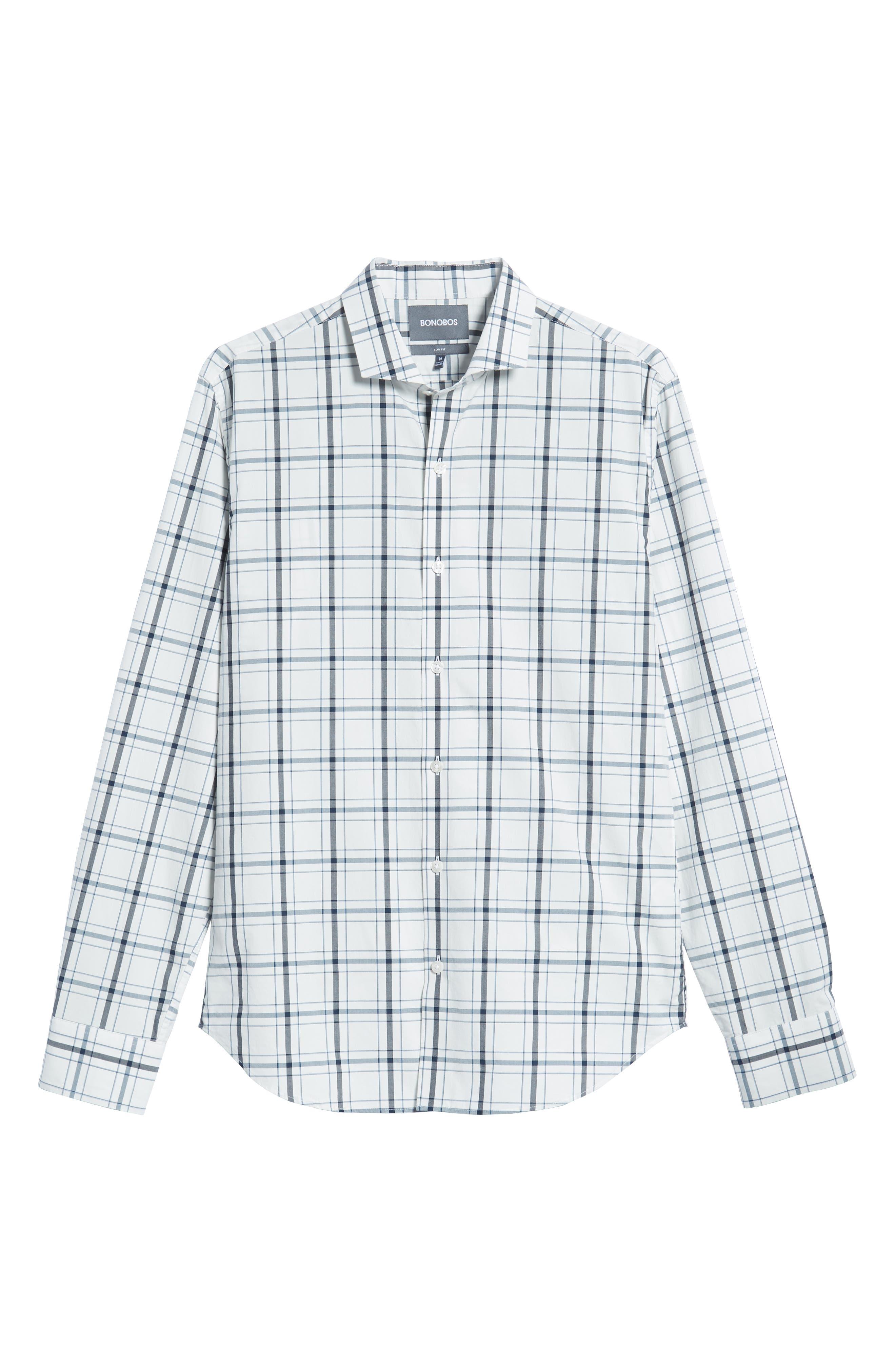 Unbutton Down Slim Fit Plaid Sport Shirt,                             Alternate thumbnail 5, color,                             GOLDHURST PLAID -BLUE JAY