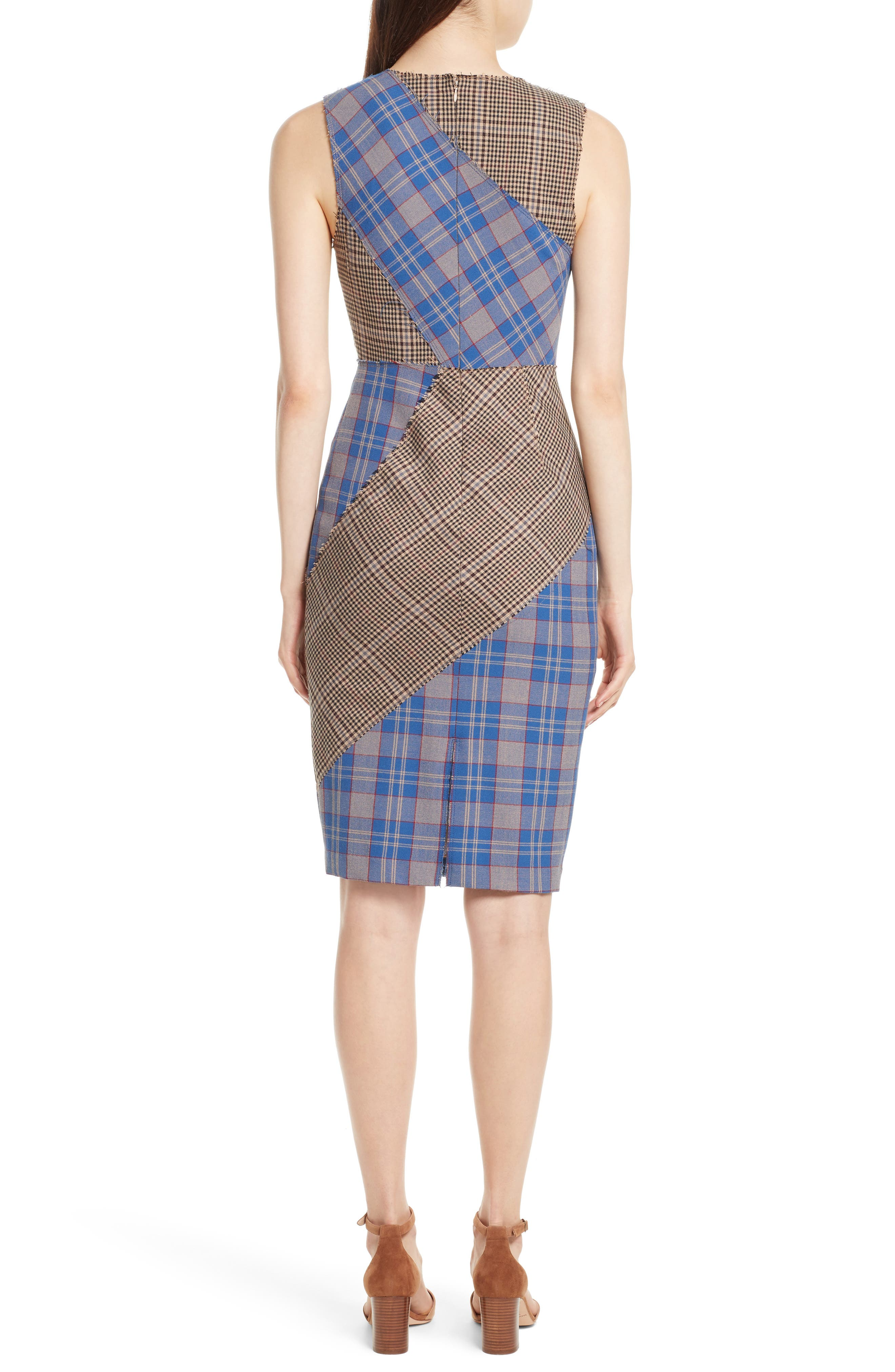 Patchwork Plaid Sheath Dress,                             Alternate thumbnail 2, color,                             459