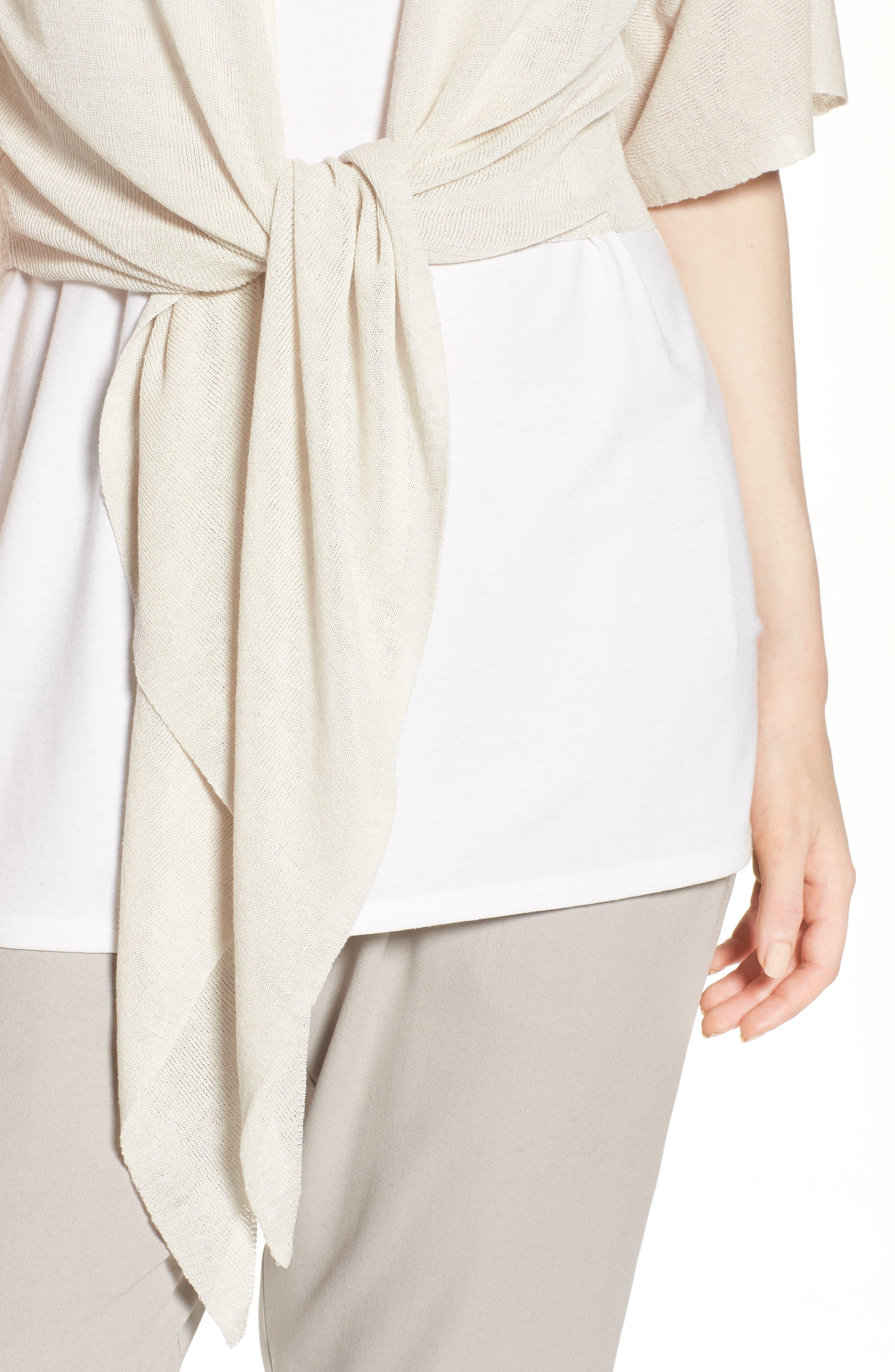 Tie Front Organic Linen Blend Cardigan,                             Alternate thumbnail 13, color,