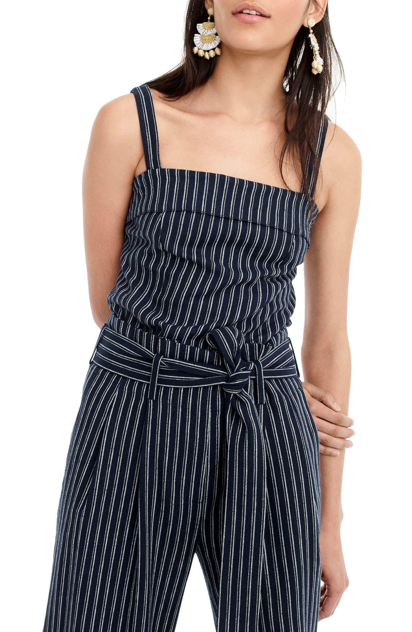 J.CREW,                             Turnover Stripe Linen & Cotton Top,                             Main thumbnail 1, color,                             400