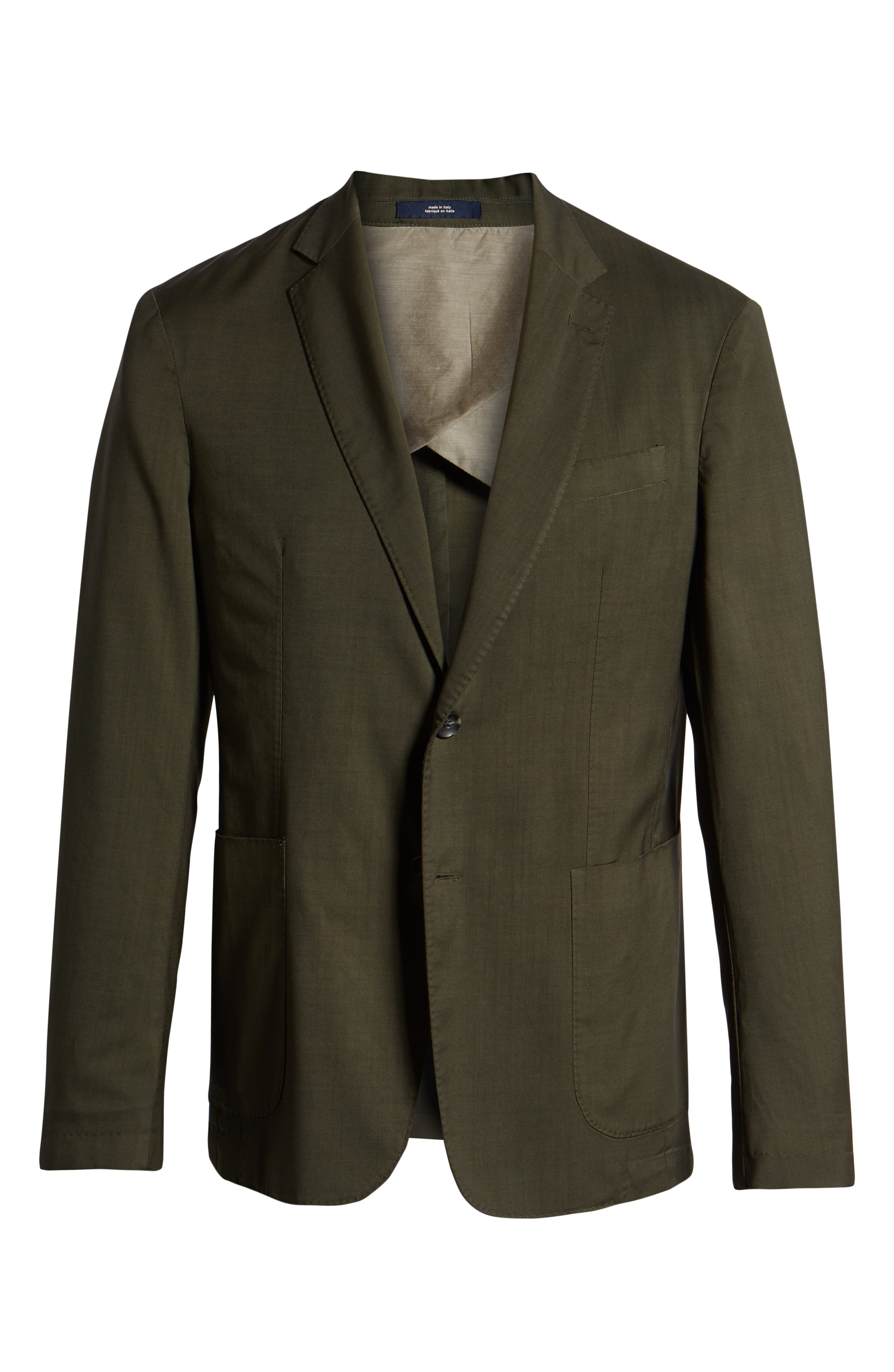 Extra Trim Fit Garment Dyed Wool Sport Coat,                             Alternate thumbnail 5, color,                             OLIVE