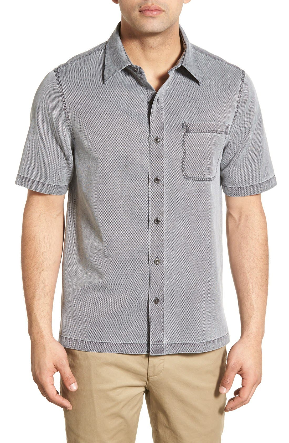 'Havana Cloth' Regular Fit Short Sleeve Silk & Cotton Sport Shirt,                             Main thumbnail 1, color,                             BLACK
