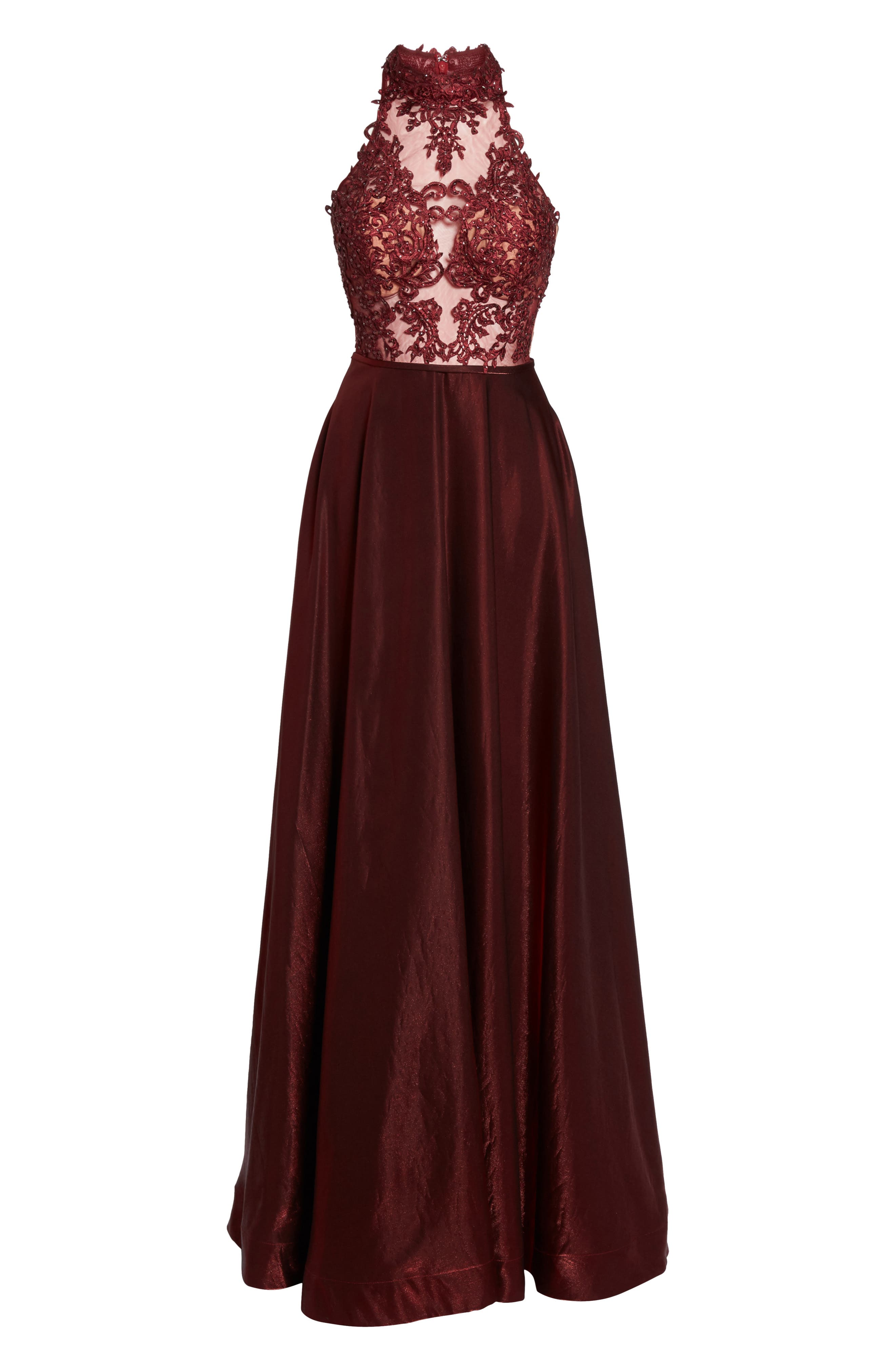 Embroidered Lace & Satin A-Line Ballgown,                             Alternate thumbnail 12, color,