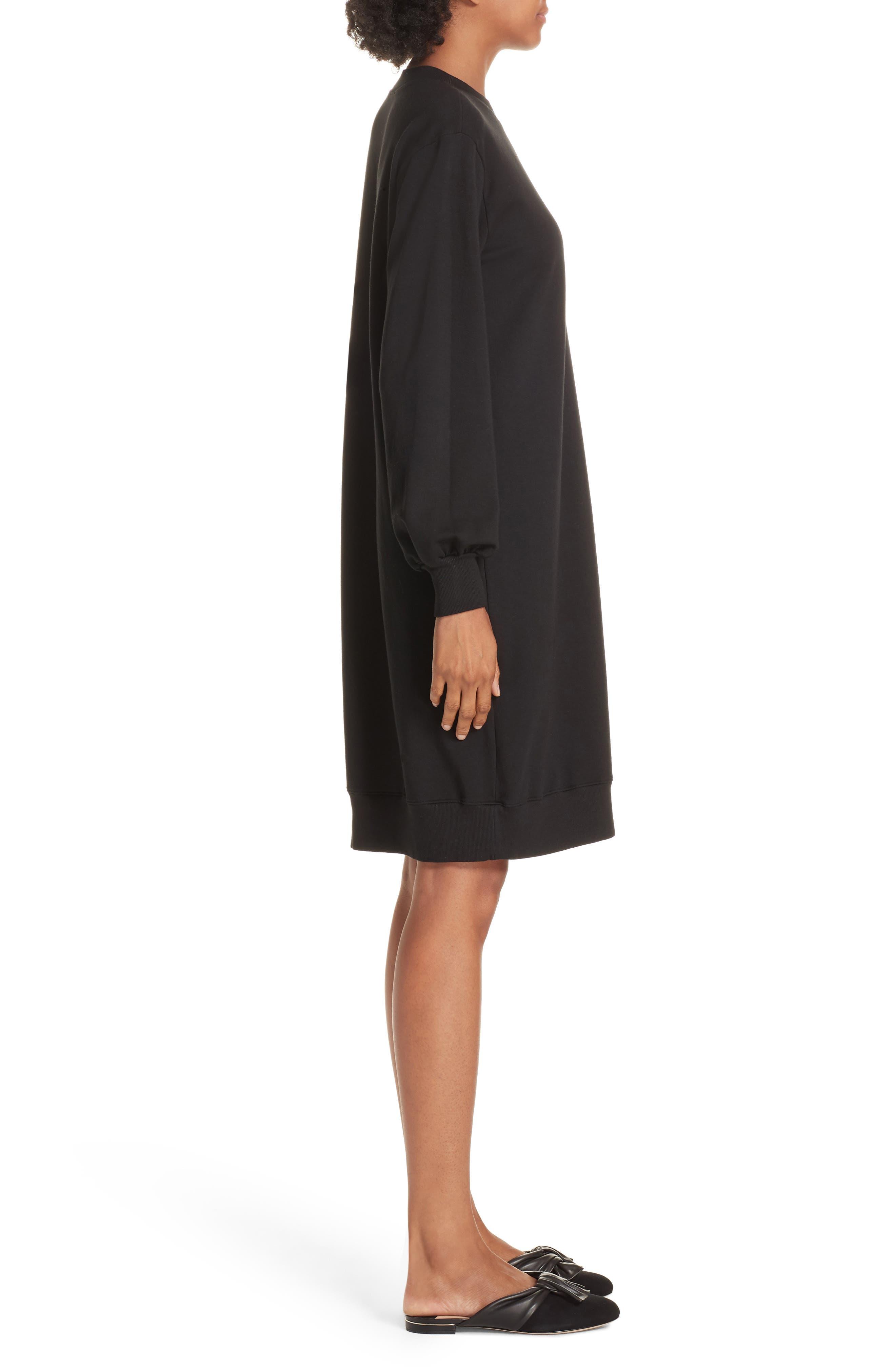 Asymmetric Sweatshirt Dress,                             Alternate thumbnail 3, color,                             BLACK