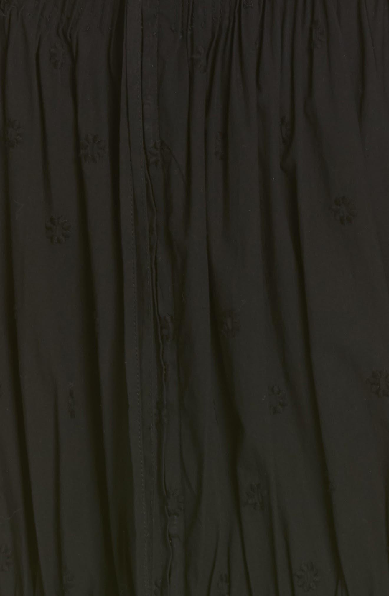 Lottie Embroidered Midi Dress,                             Alternate thumbnail 6, color,                             JET