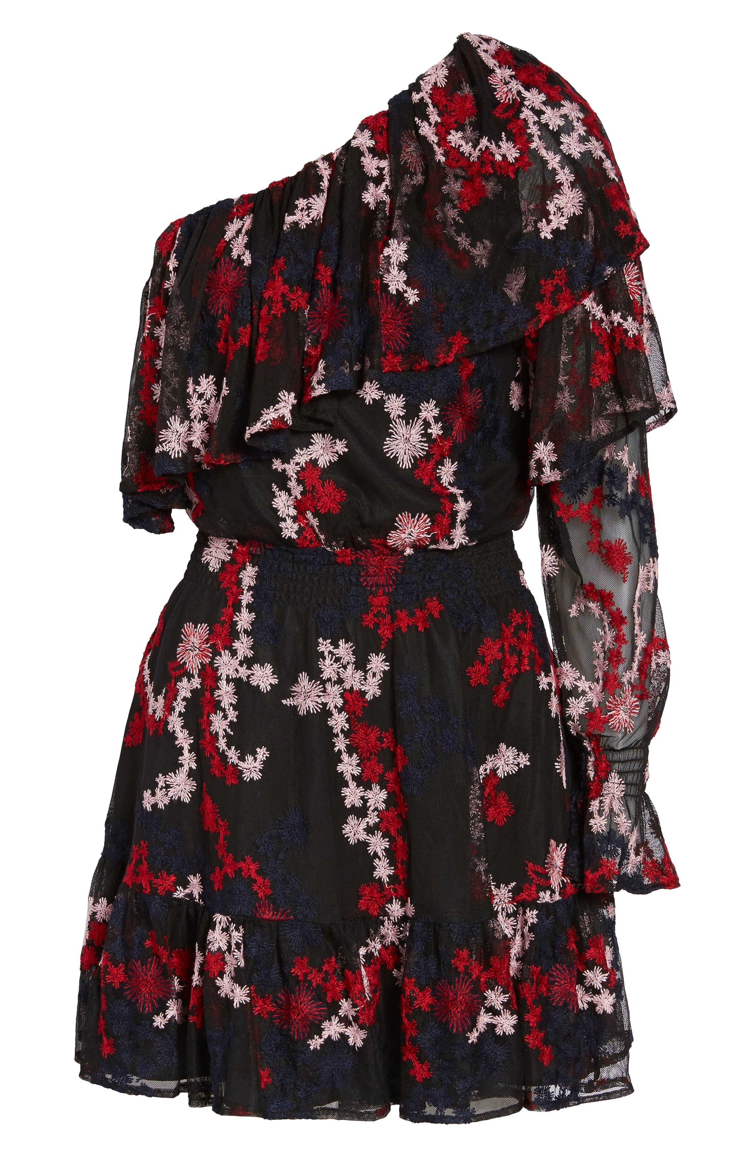 Irina One-Shoulder Blouson Dress,                             Alternate thumbnail 6, color,                             600
