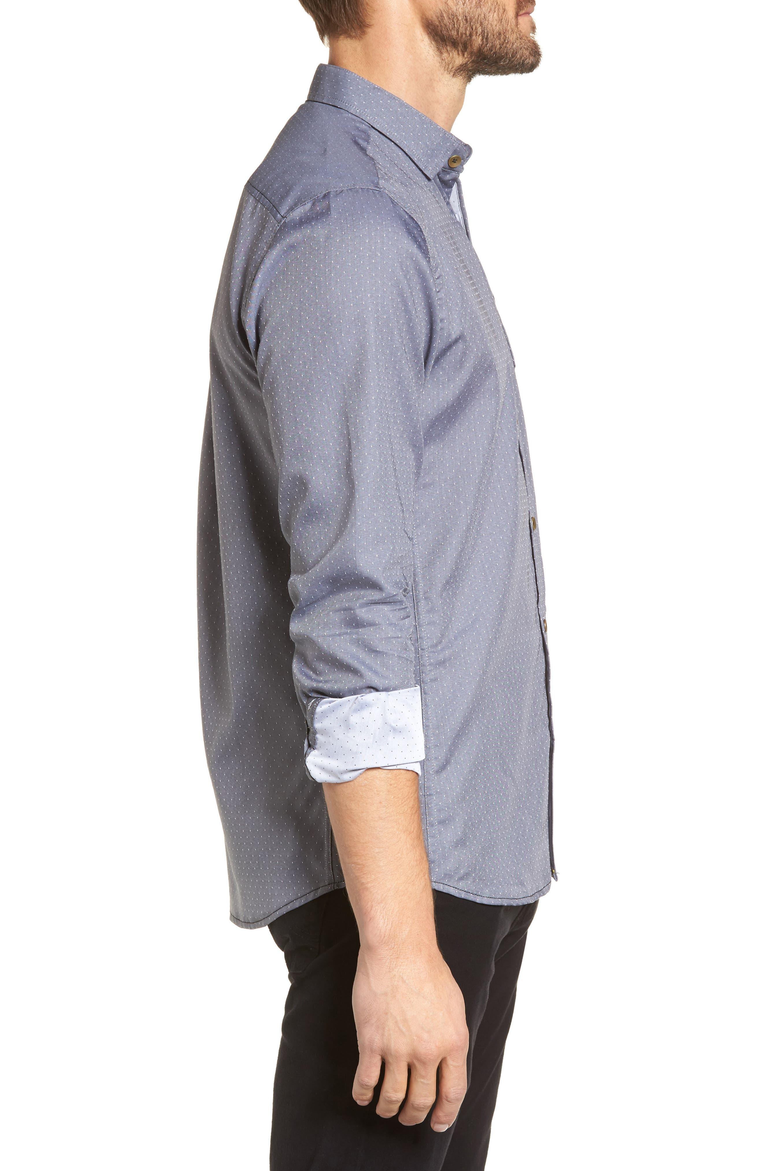 Micro Polka Dot Sport Shirt,                             Alternate thumbnail 3, color,